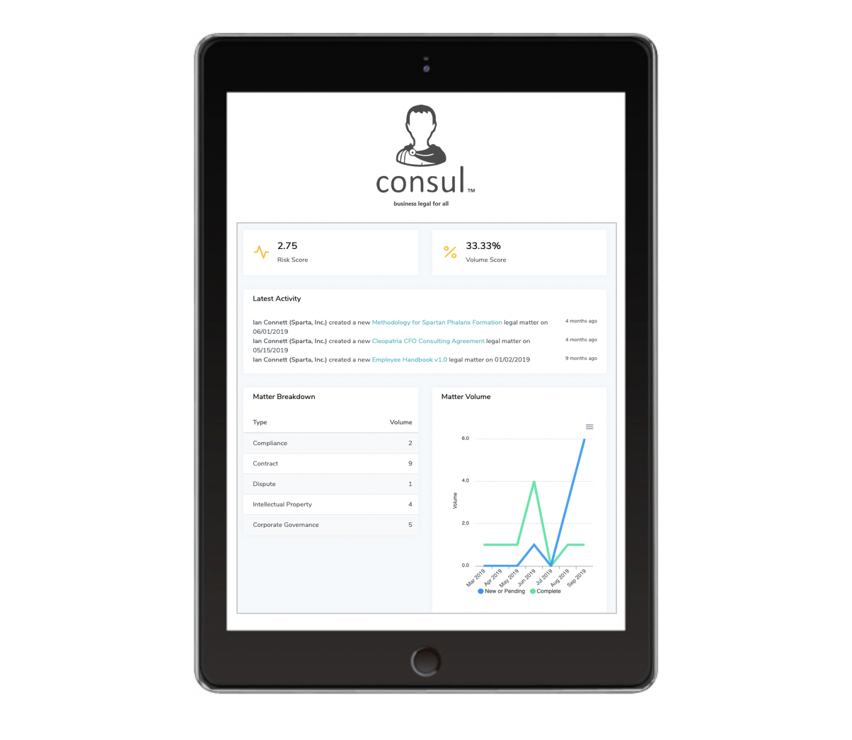 Smarter Legal. - Know the real time legal and compliance health of your organization. Track risk and legal ops performance through Consul™ Risk Score. Take command of legal data with easy .pdf reporting and analytics.