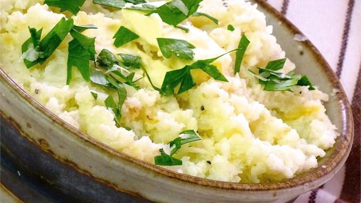Garlic Mashed Cauliflower - From All Recipeshttps://www.allrecipes.com/recipe/230816/garlic-mashed-cauliflower/?internalSource=hub%20recipe&referringId=1086&referringContentType=Recipe%20Hub
