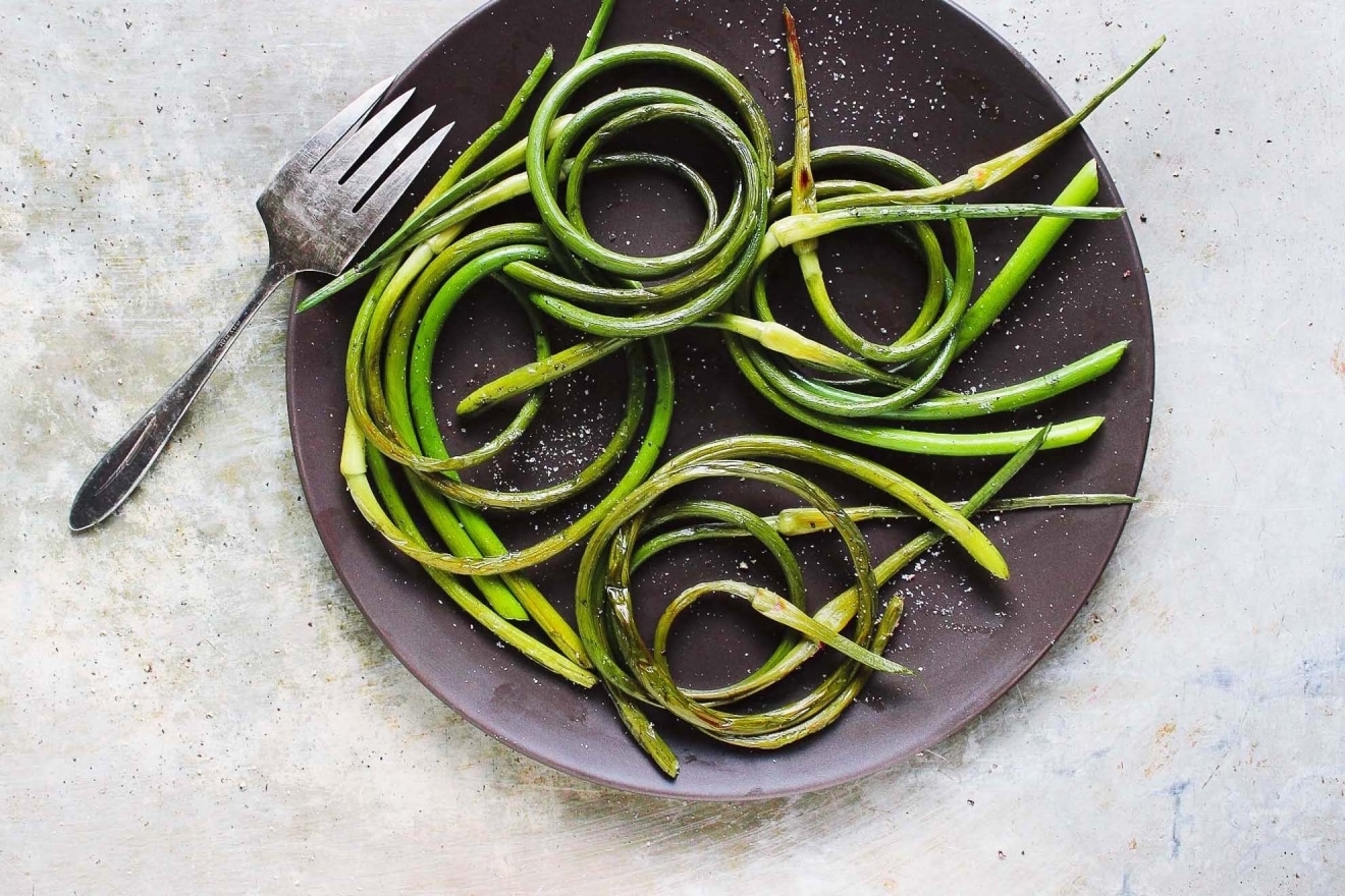 Grilled Garlic Scapes - https://www.allrecipes.com/recipe/259155/grilled-garlic-scapes/https://withfoodandlove.com/grilled-garlic-scapes-with-sea-salt/