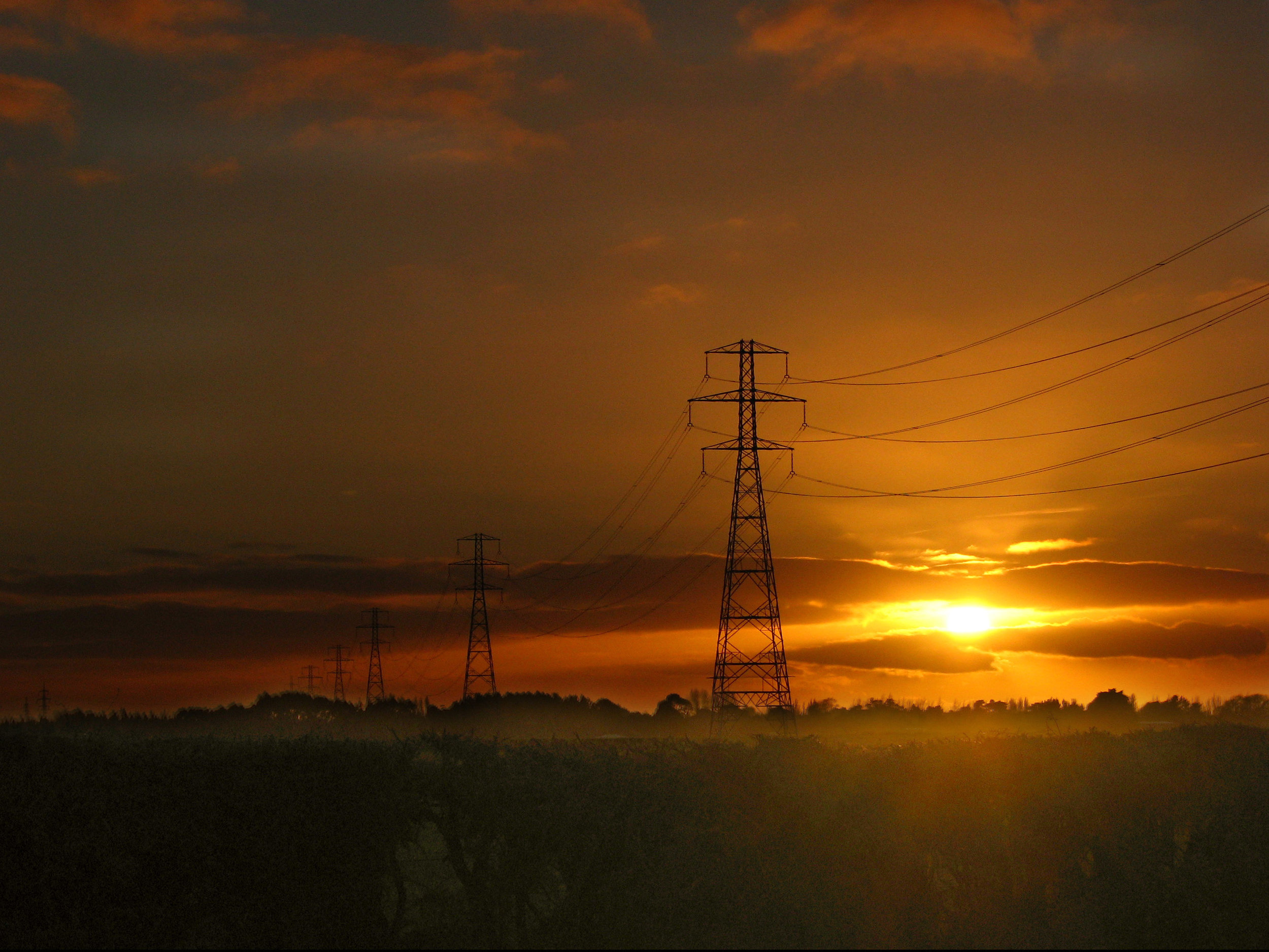 Sun and Power Lines
