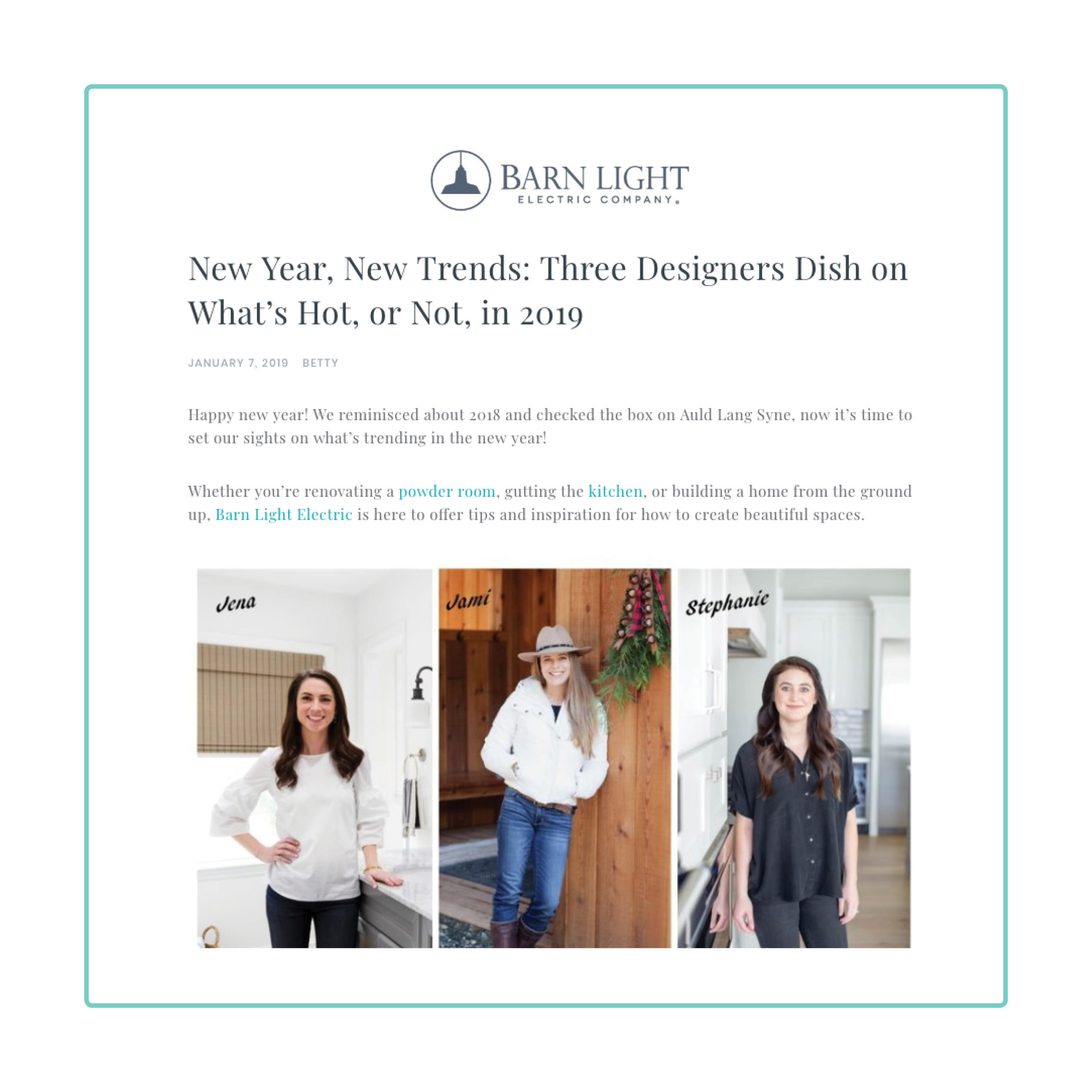 Barn Light Blog- January 7, 2019