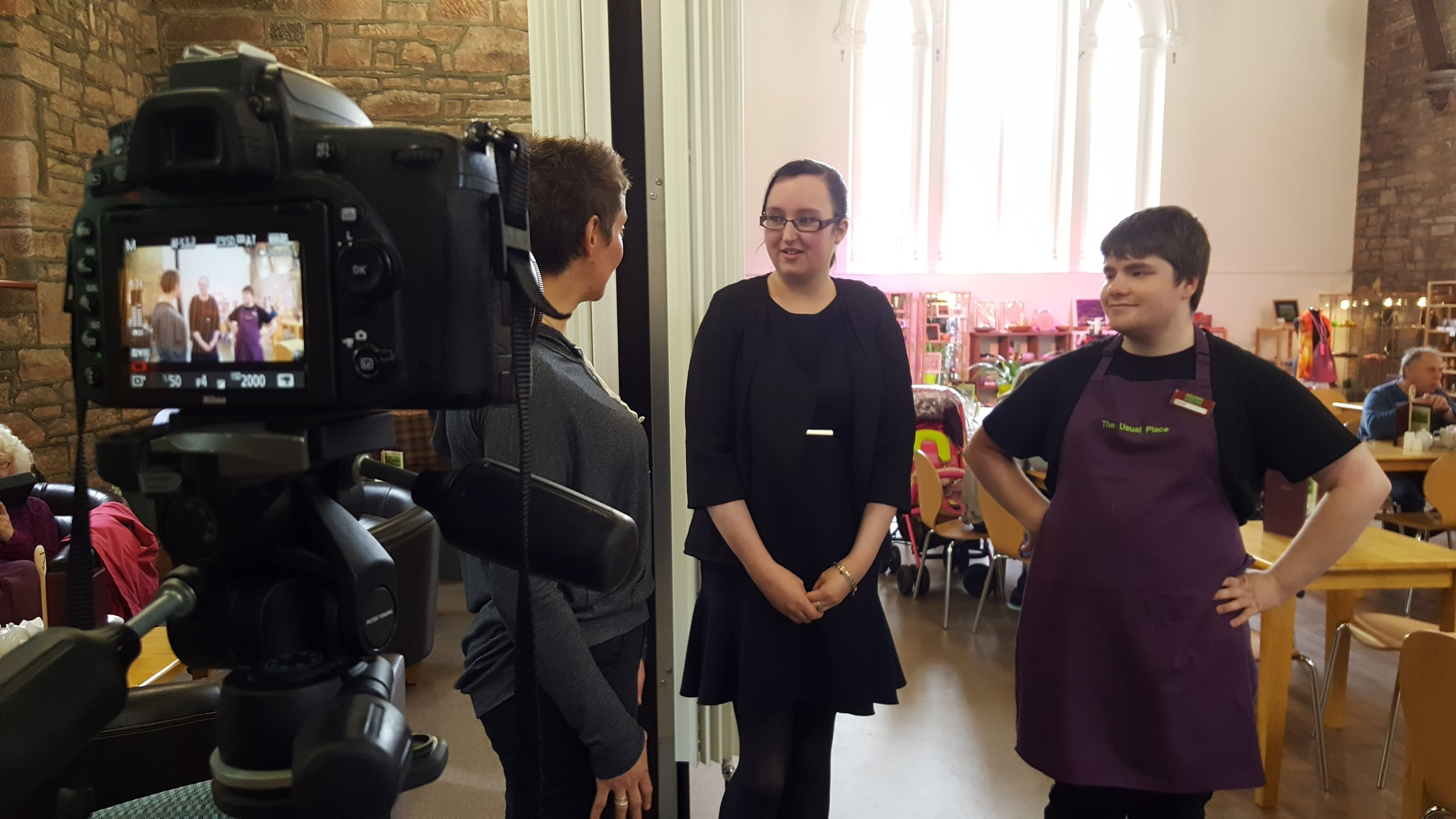 Filming at Usual Place in Dumfries, what a great day we spent with storyteller Wendy Woolfson, CEO Amy and serivce user David