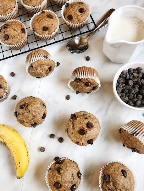 Vegan CC Muffins - 2 cups Whole Wheat flour4 Tbsp ground flaxseed (for flax egg)1 Tsp cinnamon1/4 Tsp nutmeg1/4 Tsp cloves1 Tsp baking powder1/2 Tsp baking soda1/2 Tsp sea salt1/2 cup almond milk1 Tbsp apple cider vinegar1/2 cup maple syrup1/3 cup coconut oil2 mashed bananas1/2 cup chocolate chips (dairy free)METHODPreheat oven to 350 F and lightly grease 12 muffin tins and lay out in a muffin pan.In a small bowl, combine the ground flaxseed and 1 tbsp of warm water and let sit for five minutesIn a large bowl, combine flour, cinnamon, nutmeg, cloves, sea salt, baking soda, and baking powderIn a medium bowl, combine the almond milk, apple cider vinegar, maple syrup, coconut oil, flaxseed egg and stir until well combined.Add the wet ingredients into the dry ingredients with a wooden spoon. Add in the mashed banana and chocolate chips.Divide mix evenly into muffin tins and bake for 20-22 minutes. Let cool on a wire rack and enjoy!