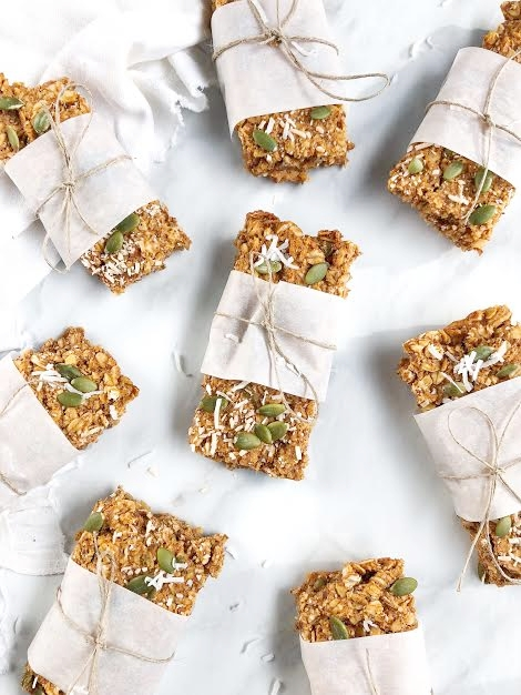 Sweet Potato Granola Bars - 1 medium sweet potato2 cups rolled oats½ cup pumpkin seeds1/3-cup crushed almonds2 tbsp. chia seeds1 tbsp. cinnamon2 scoops collagen peptides½ cup maple syrup½ cup peanut butter1/3-cup coconut oilMETHOD1. Preheat oven to 350 degrees2. Peel and chop sweet potato until cubed. In a saucepan boil until soft.3. Add cooked sweet potato to a food processor and add all wet ingredients.4. In a separate bowl, combine all dry ingredients and add in the sweet potato mix.5. Stir wet and dry ingredients with a wooden spoon until well combined.6. Line a 9X23 inch-baking dish with parchment paper, and transfer mix.7. Press mixture into dish and smooth out until even.8. Bake for 35-40 minutes9. Allow cooling, and cut into bars.