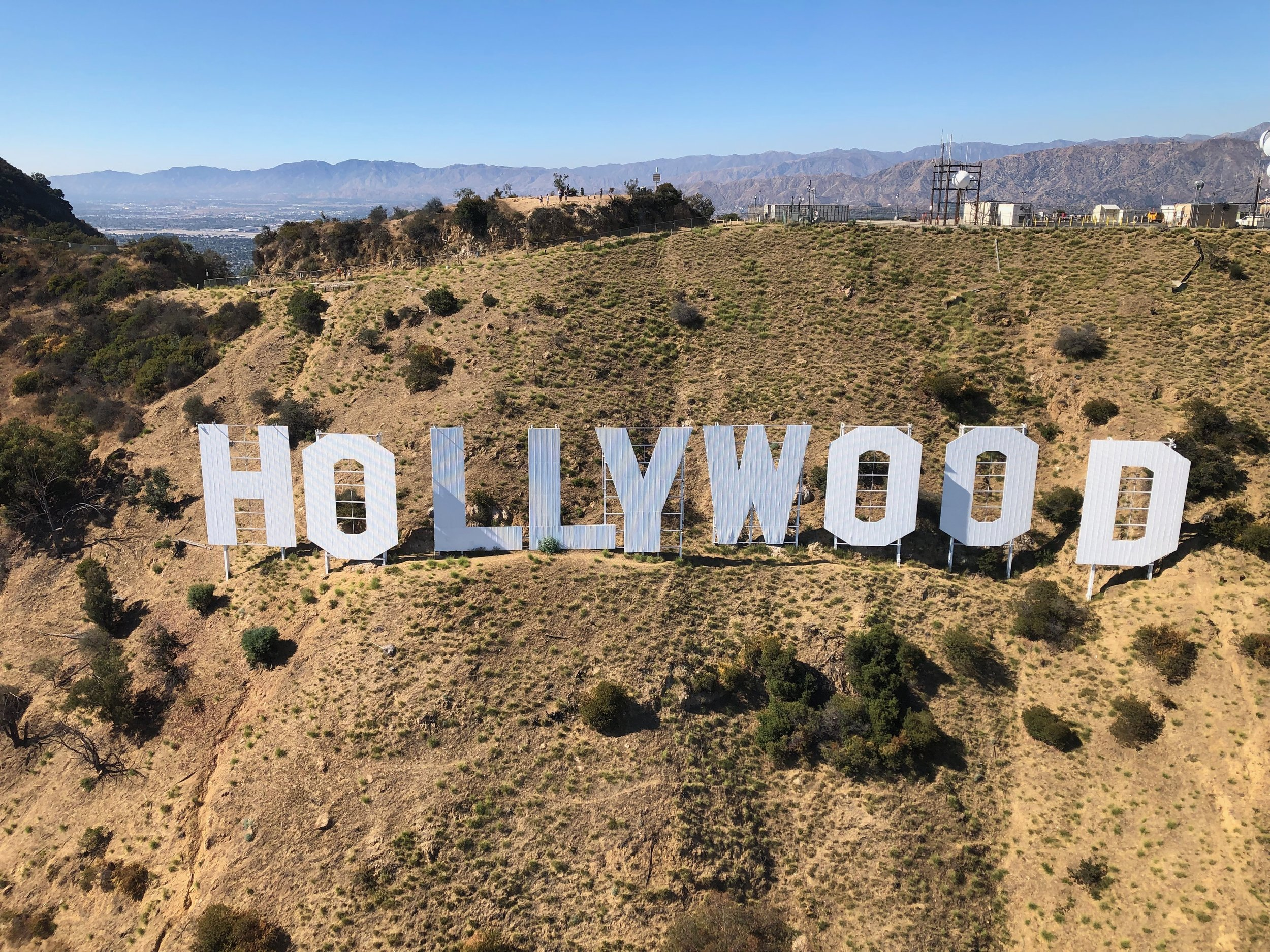 Photo taken from a helicopter next to the famous sign.