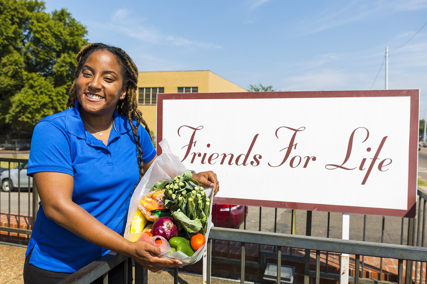 Cymone Merritt of Friends for Life at the Food Pantry