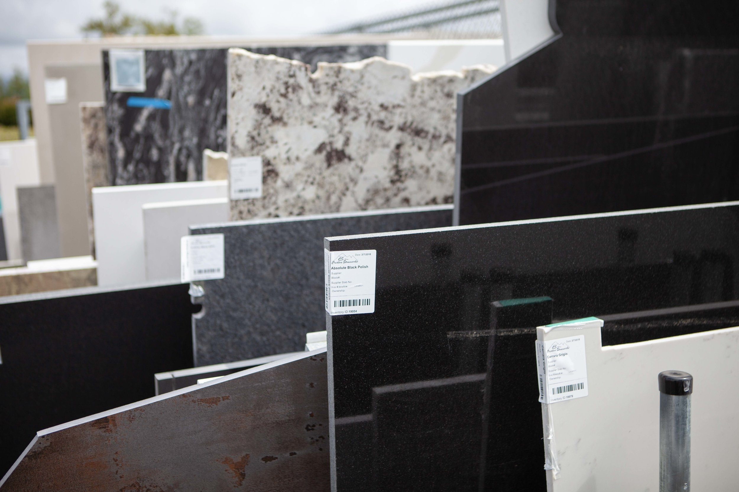 STONE Selection - Come browse our huge stone yard full of hand selected slabs of every color and texture.  We'll help you find the perfect fit for your design and maintenance expectations.