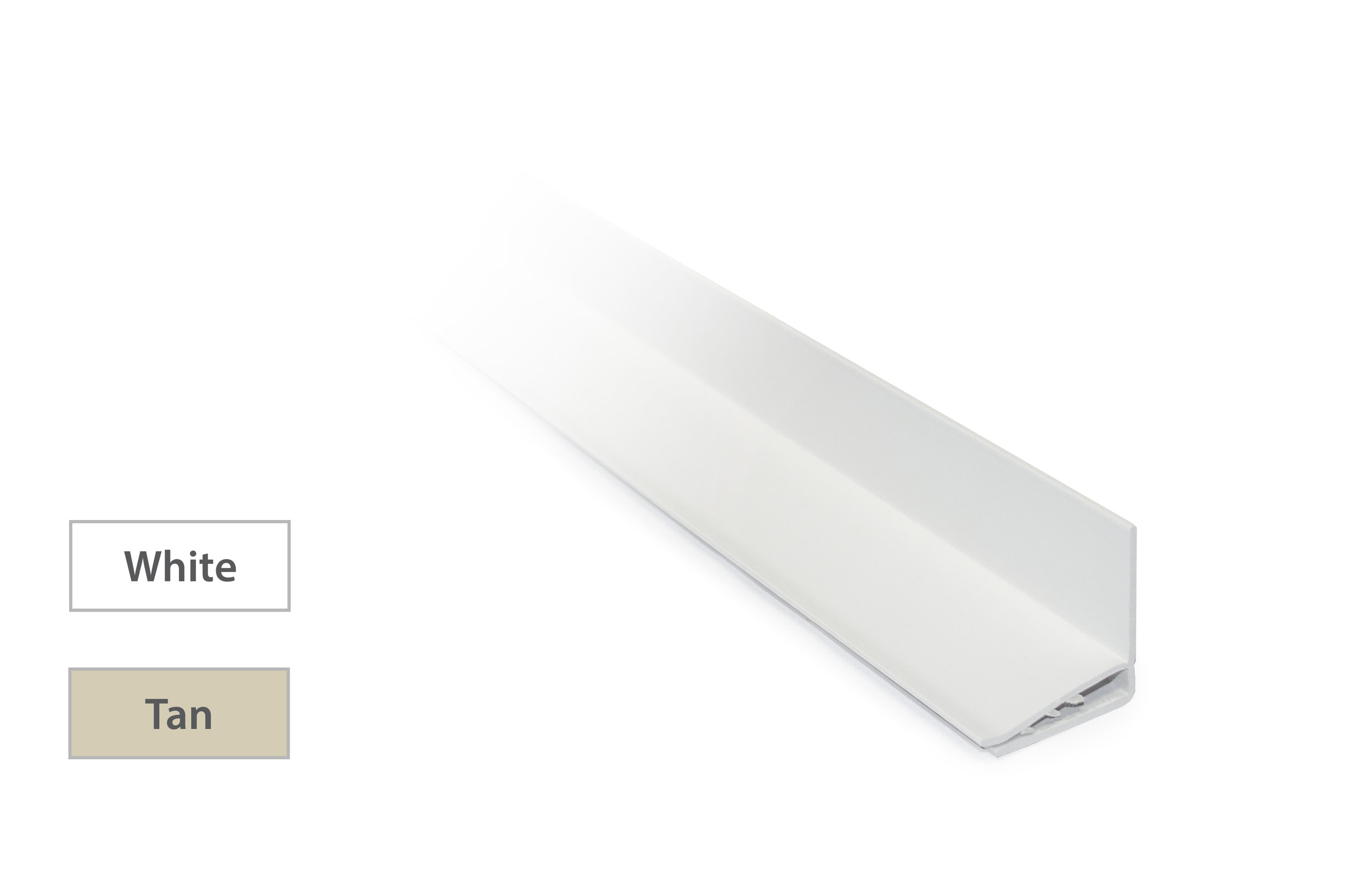 Edge Trim - Provides a finished sealed edgeConceals raw cut edge on first and last channelAvailable in White or Tan