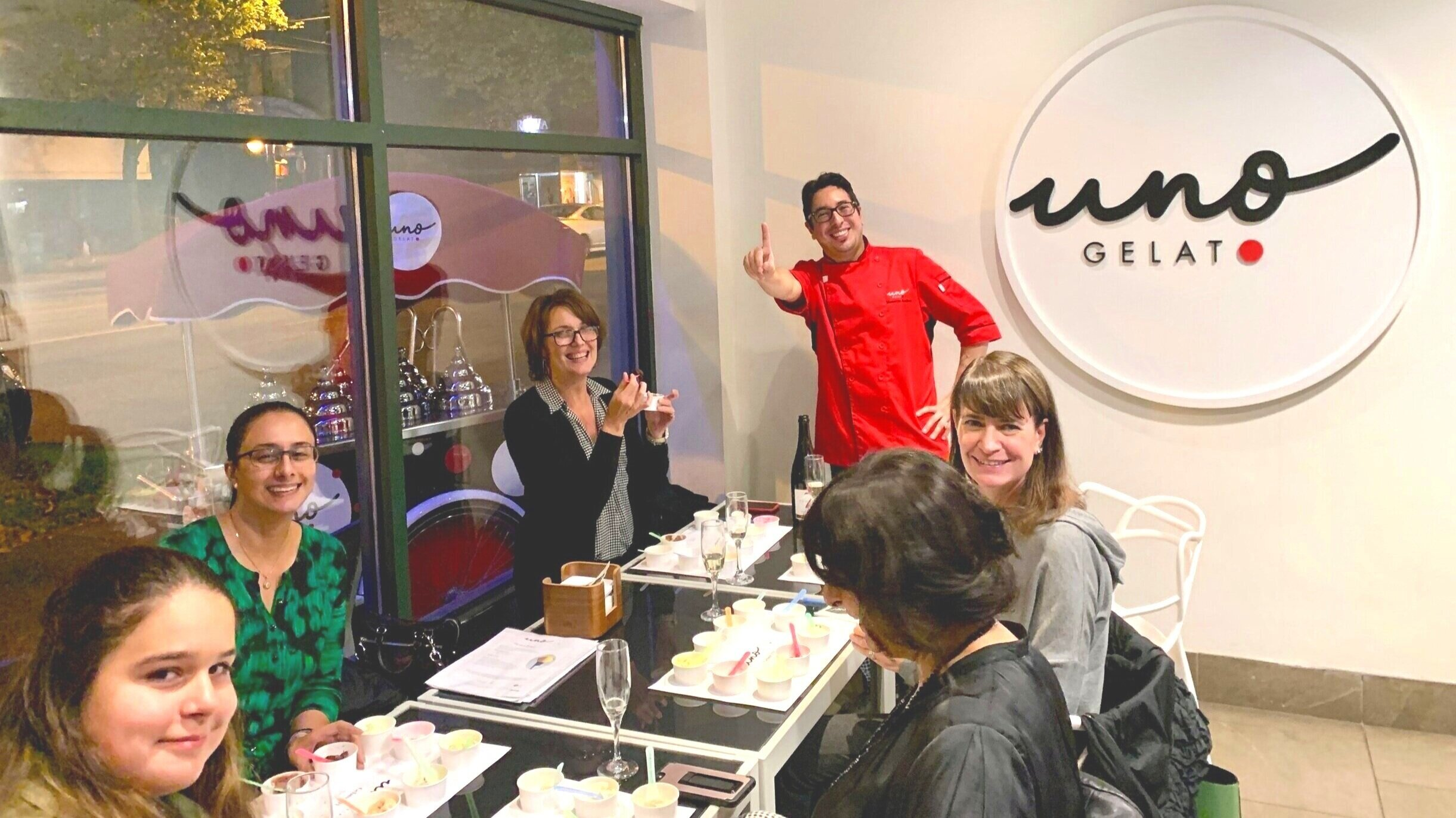 Gelato 101 class, samplers of 10 gelato and sorbetto flavours, paired with an optional sparkling wine!