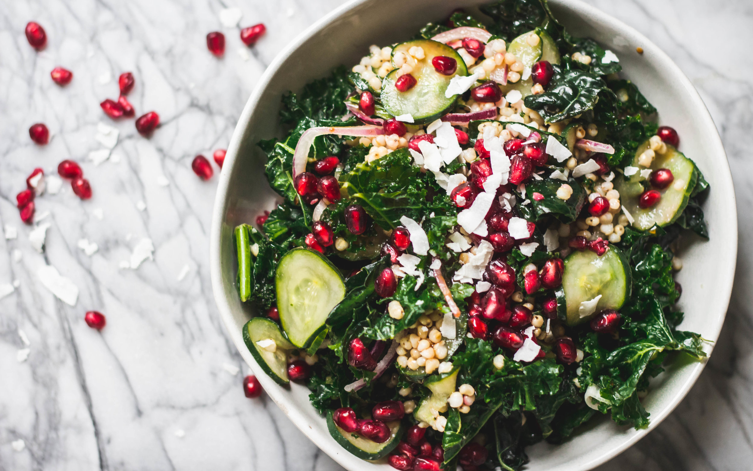 Kale & Sorghum Salad With Pomegranate Dressing - Rune Haus Recipes