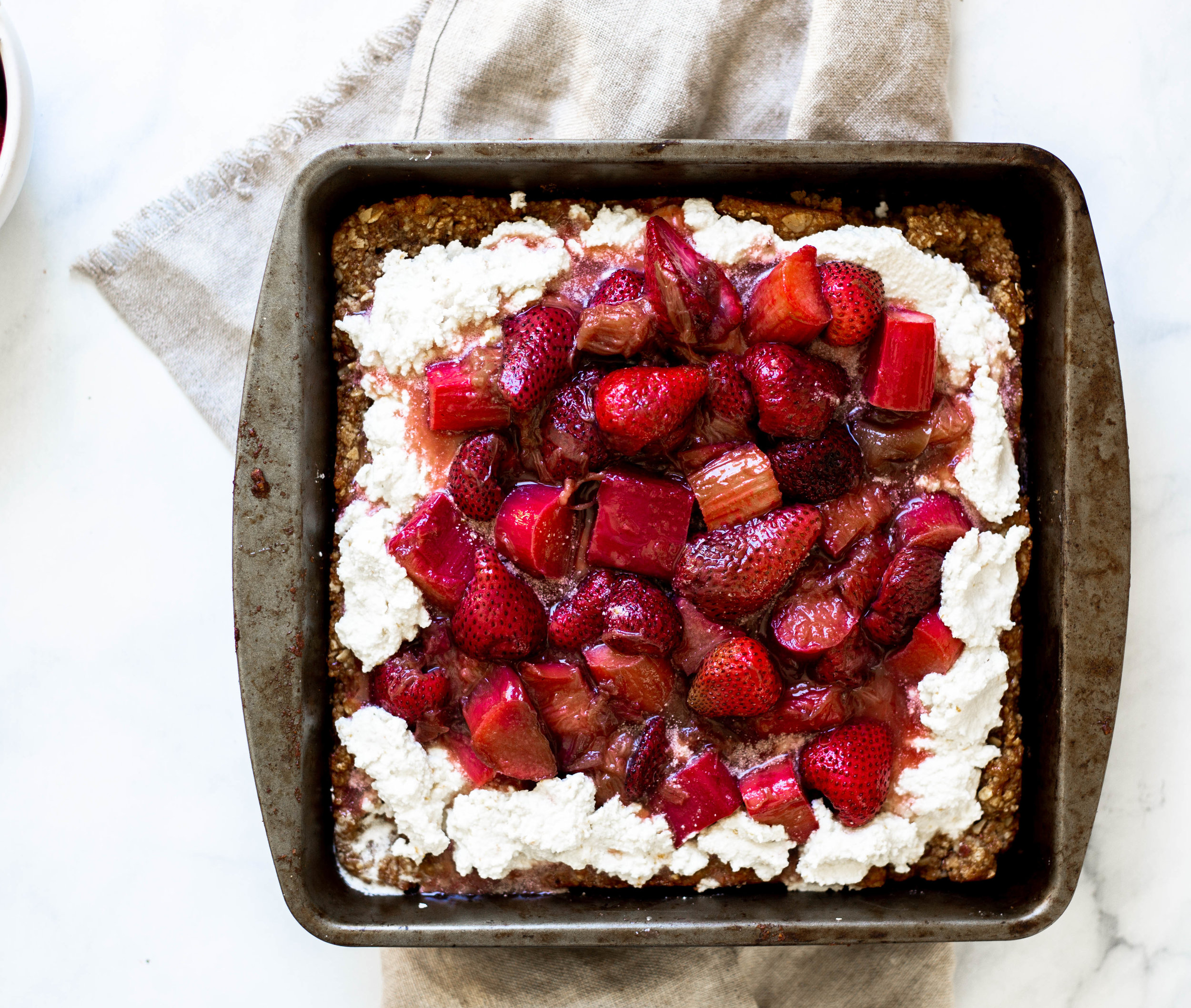 vegan strawberry rhubarb tart