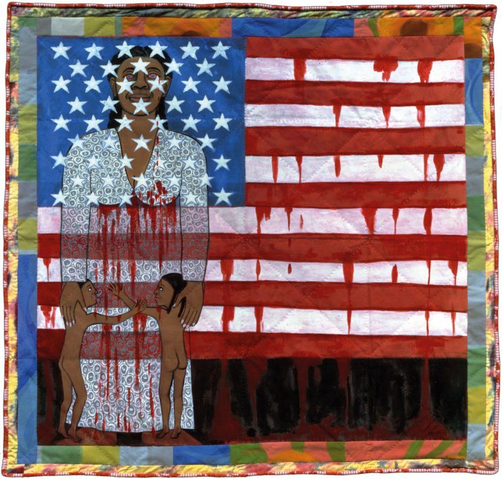 """""""The Flag is Bleeding #2"""" (1997) by Faith Ringgold"""