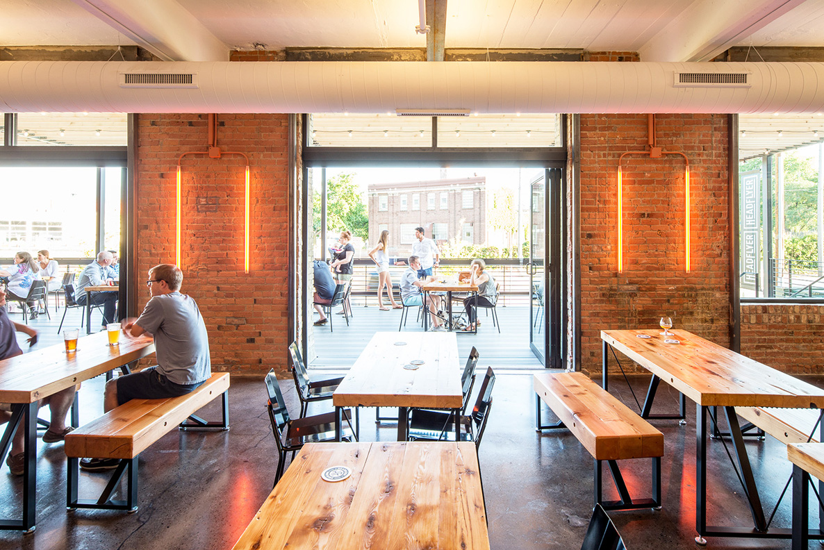 Headflyer Brewing modern taproom remodel by Christian Dean Architecture.