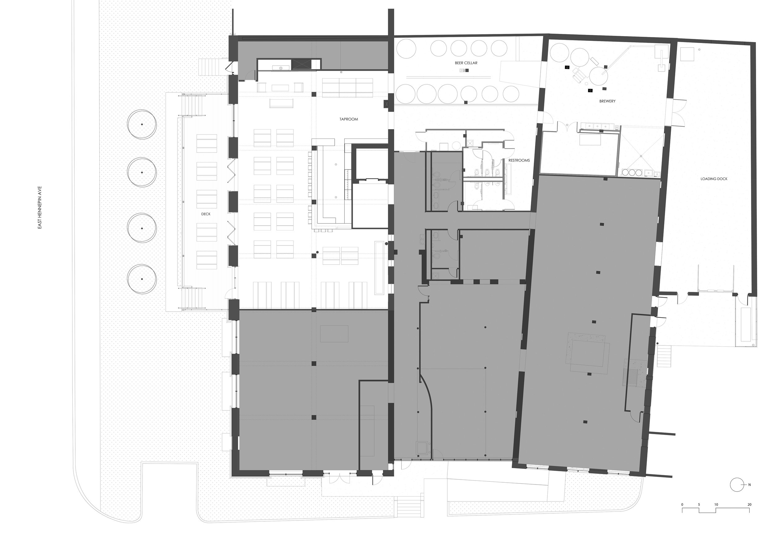 Building plan of existing context and remodeled brewery spaces of Headflyer Brewing in Minneapolis.