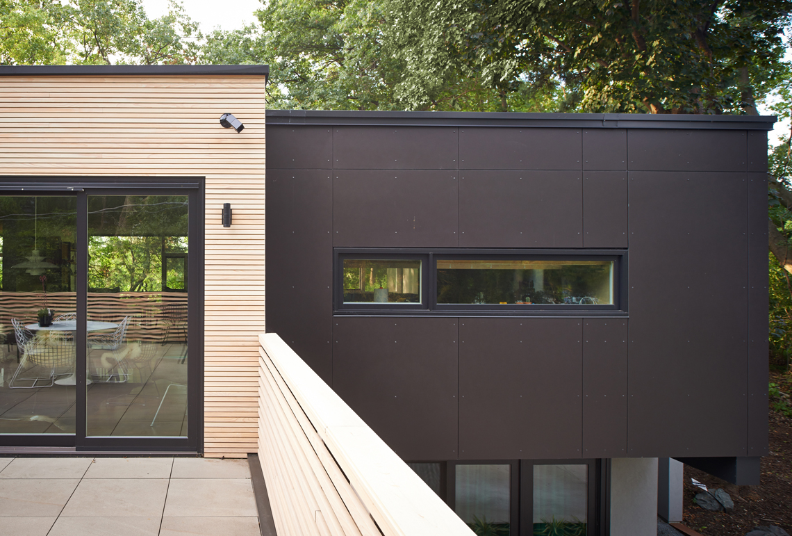 Corten steel and wood siding detail