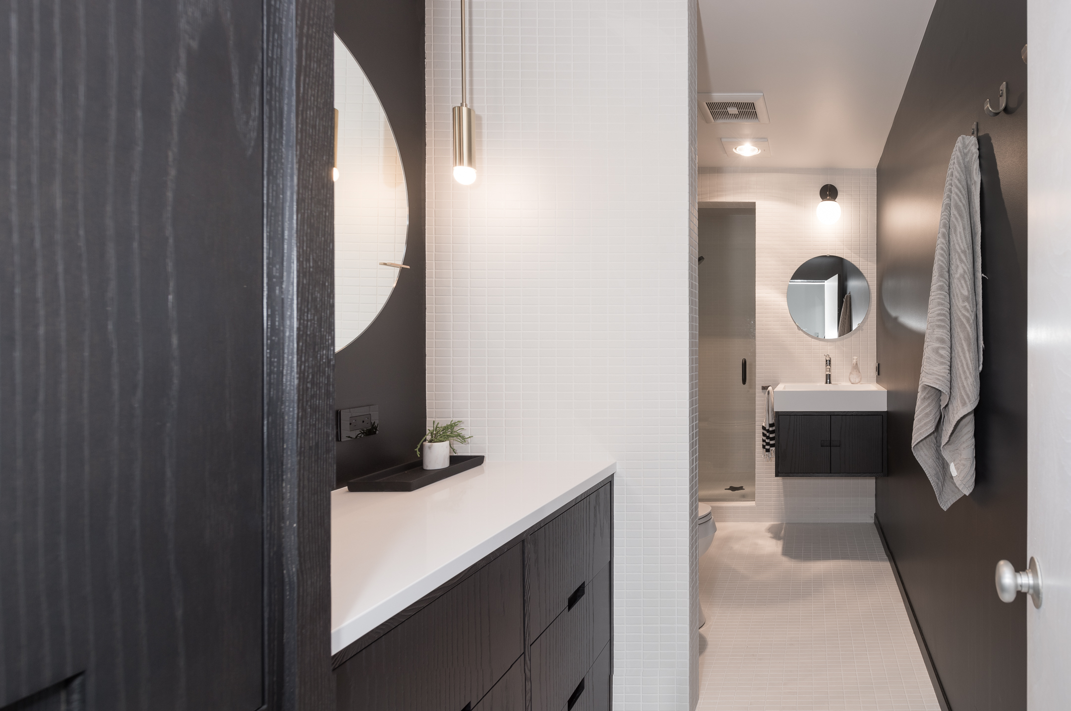 Modern black and white bathroom remodel