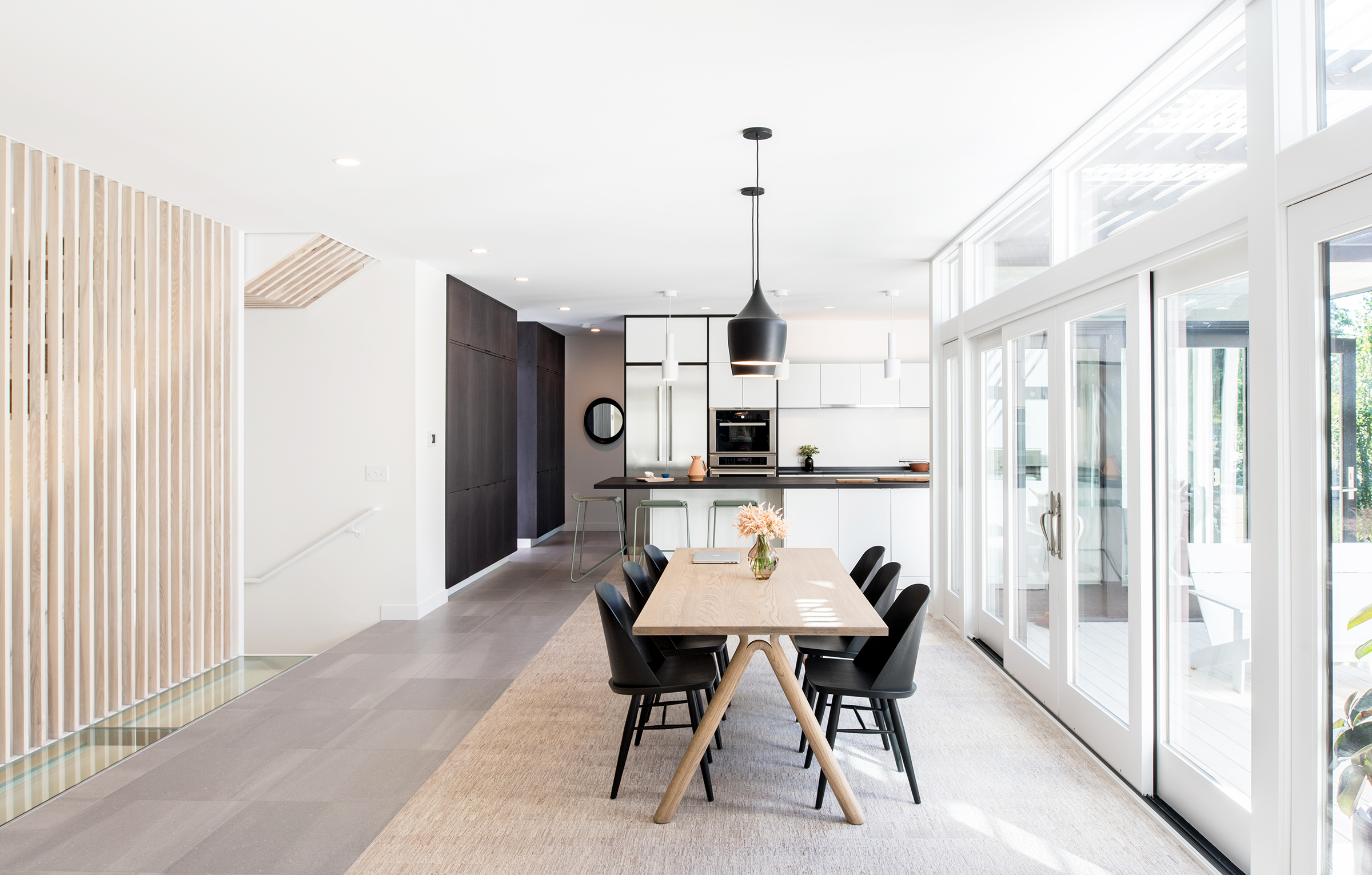 Modern dining room and custom kitchen