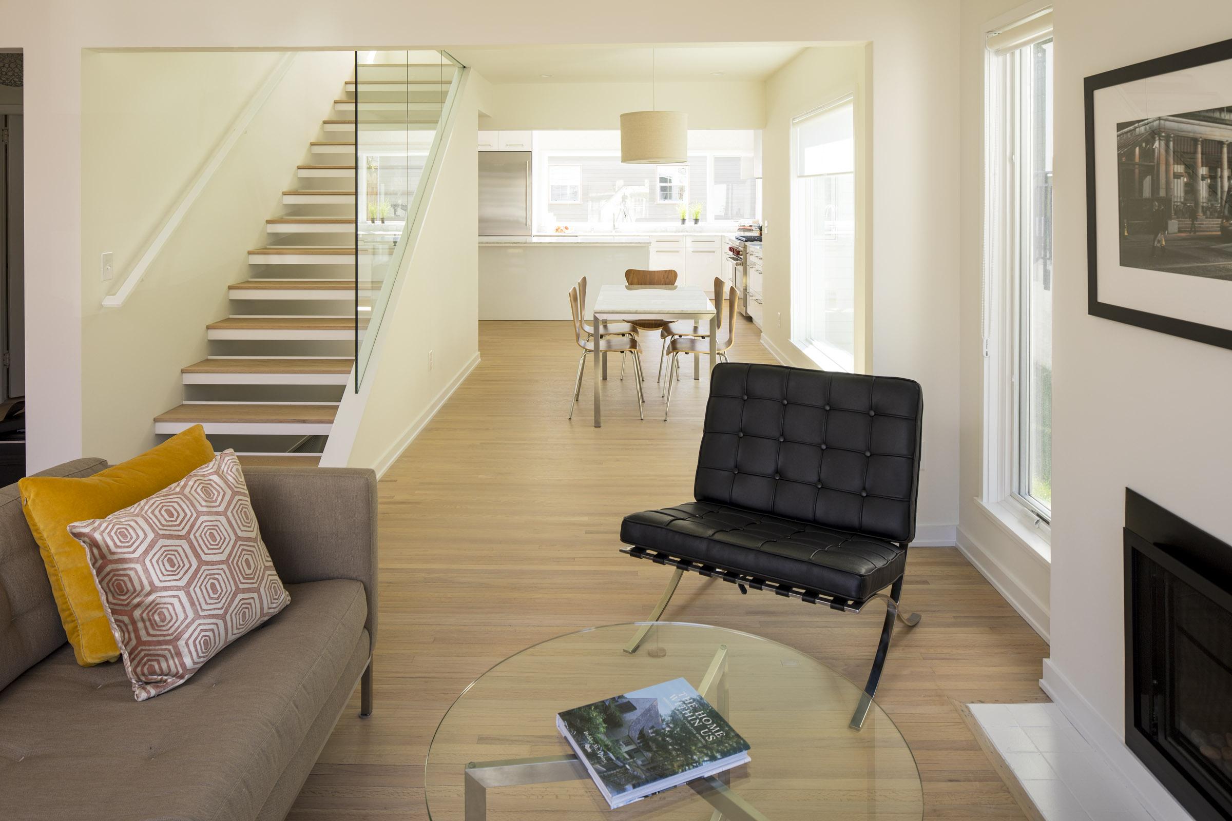 Custom open wood stair detail in modern home