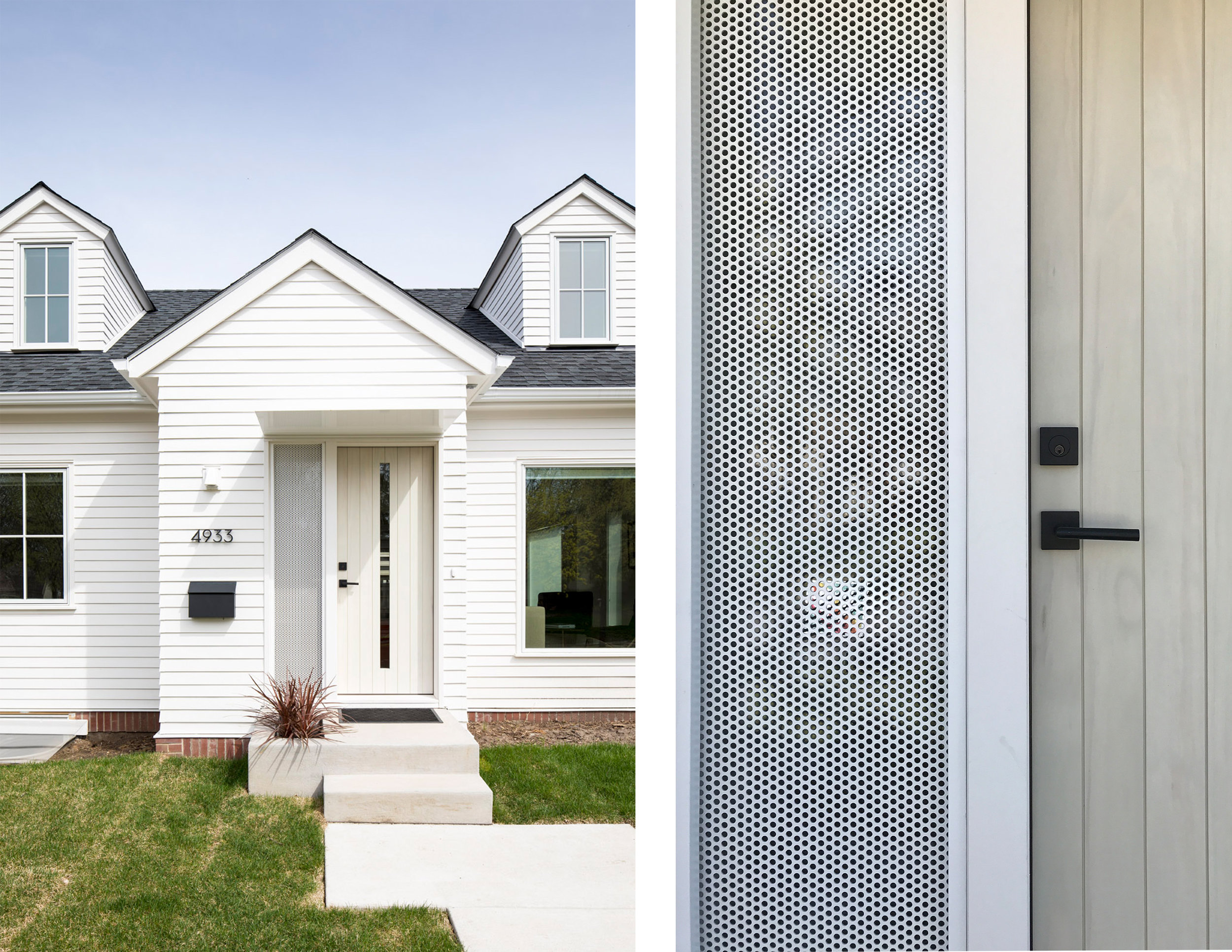 A modern white home with custom privacy screen detail at front door