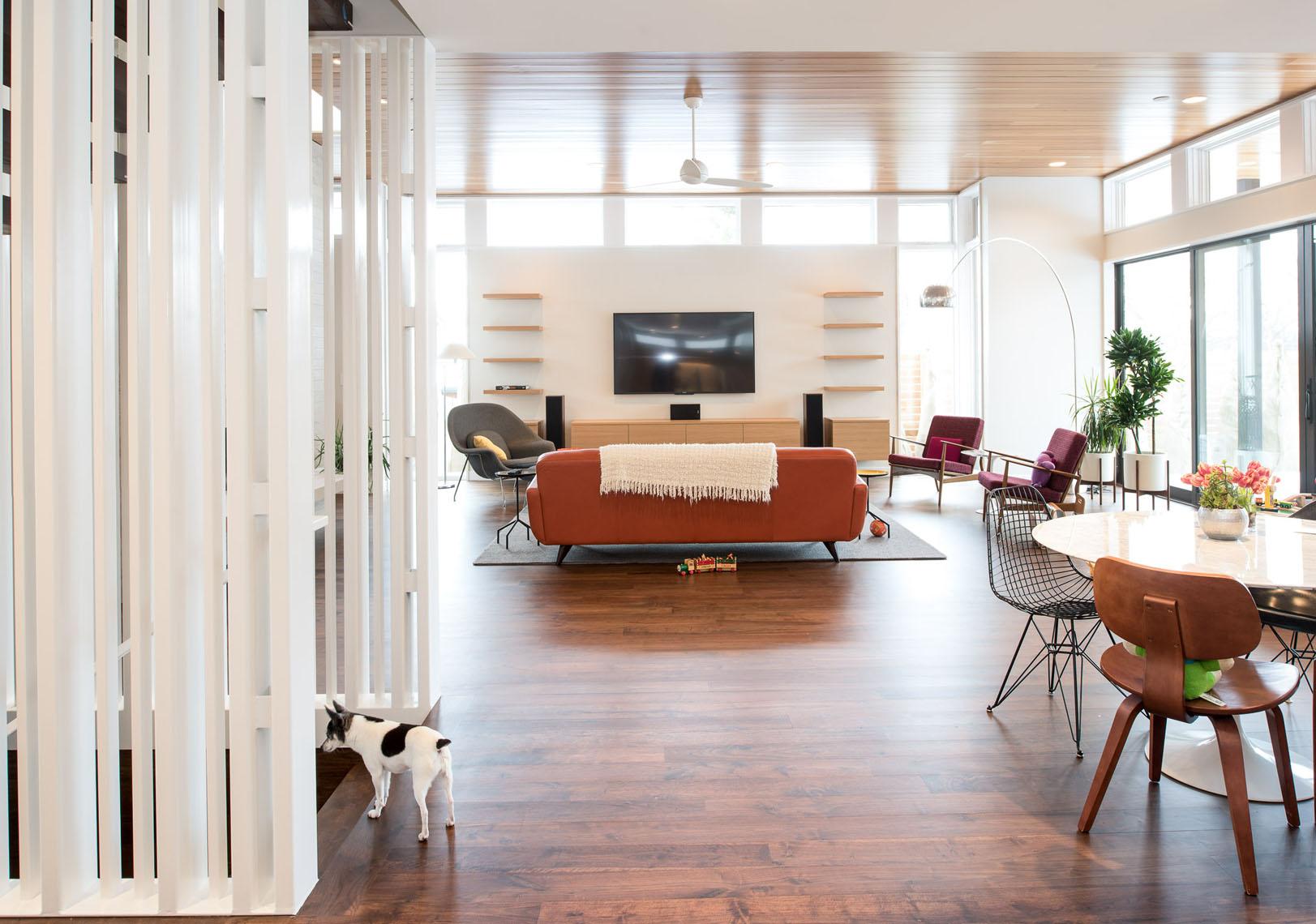 Modern living room in an open floorplan