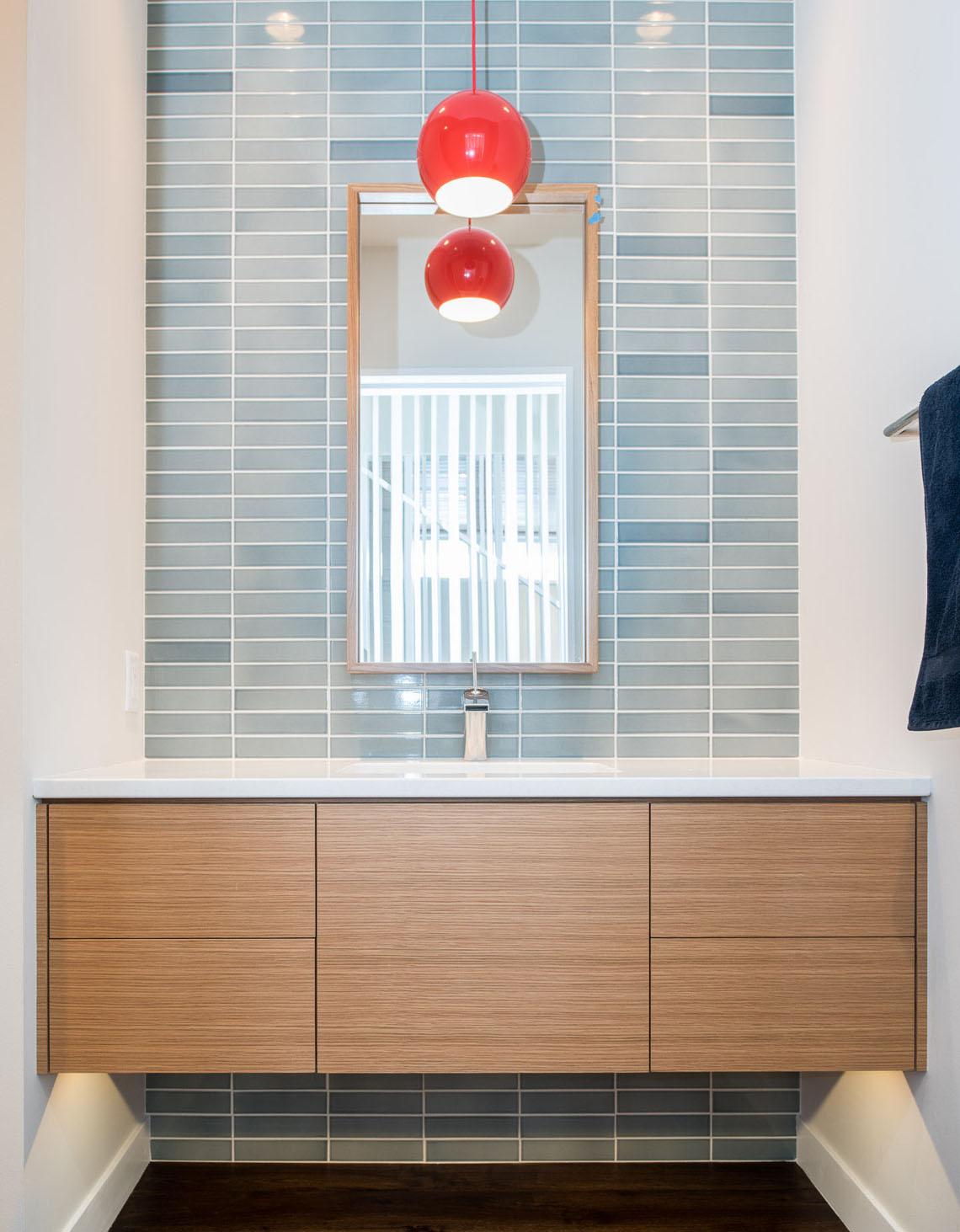 Modern custom floating bathroom vanity