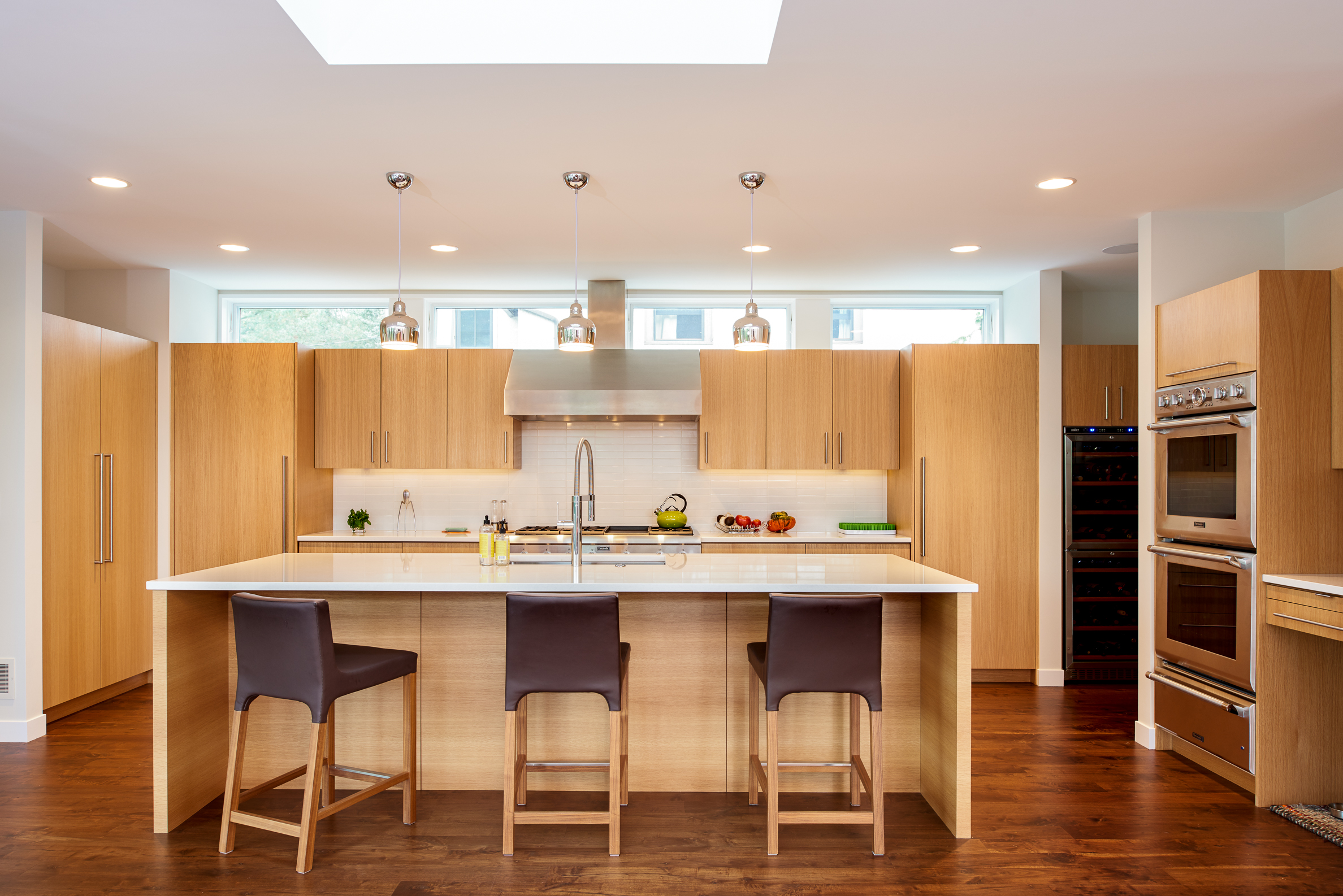 Modern midcentury kitchen with clerestory windows and skylight