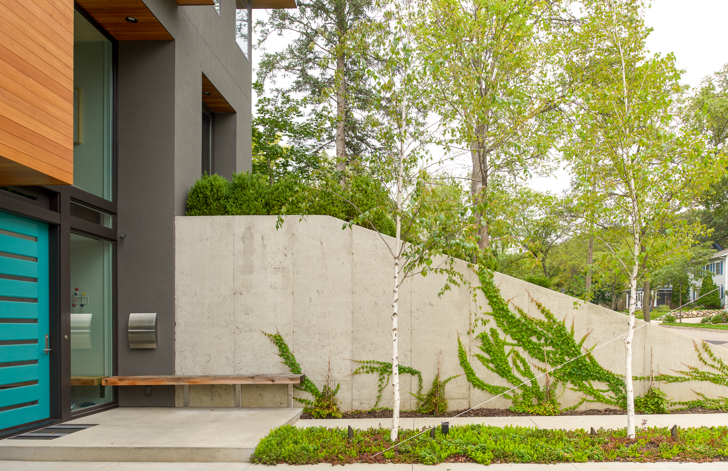 Concrete retaining wall with modern landscape and a floating entry bench