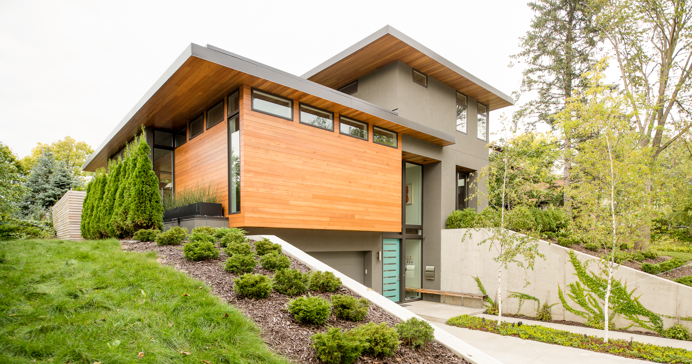 Modern wood and stucco home designed by Christian Dean Architecture