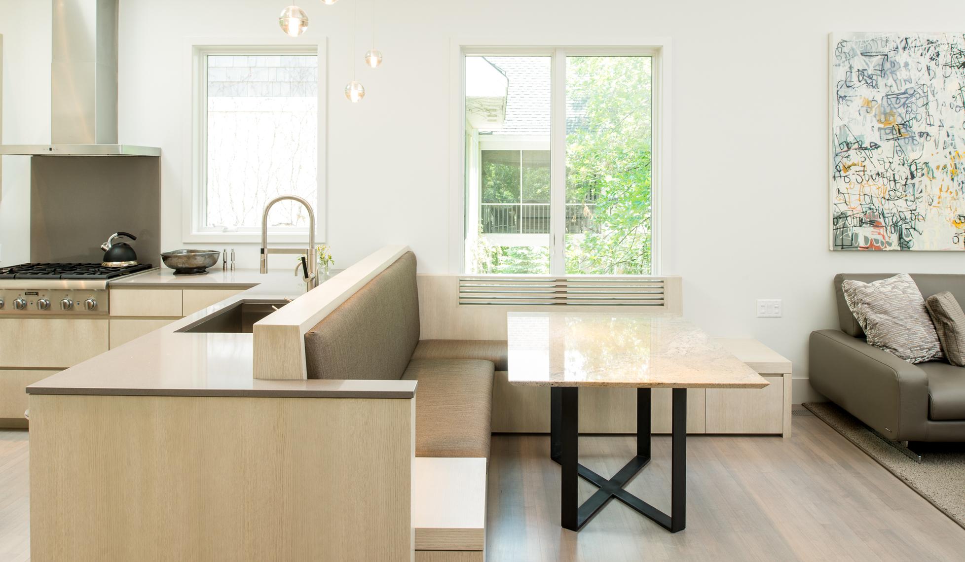 Custom upholstered dining bench