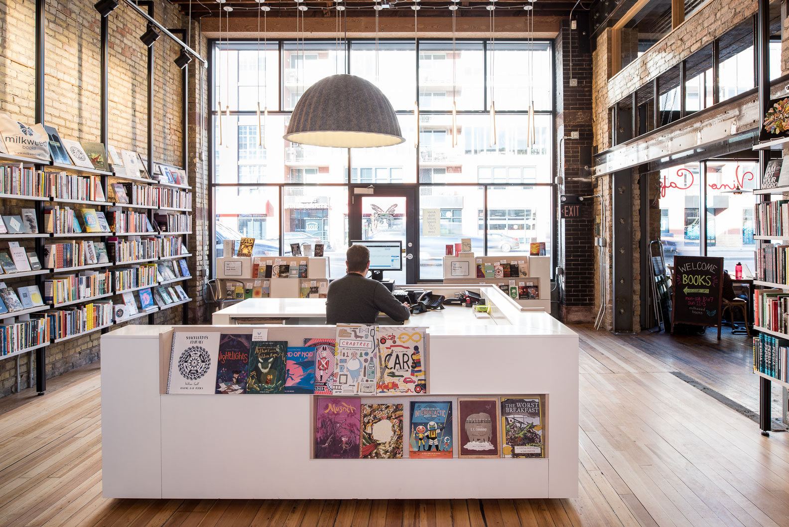 modern bookstore in historic building milkweed bookstore in minneapolis designed by christian dean architecture