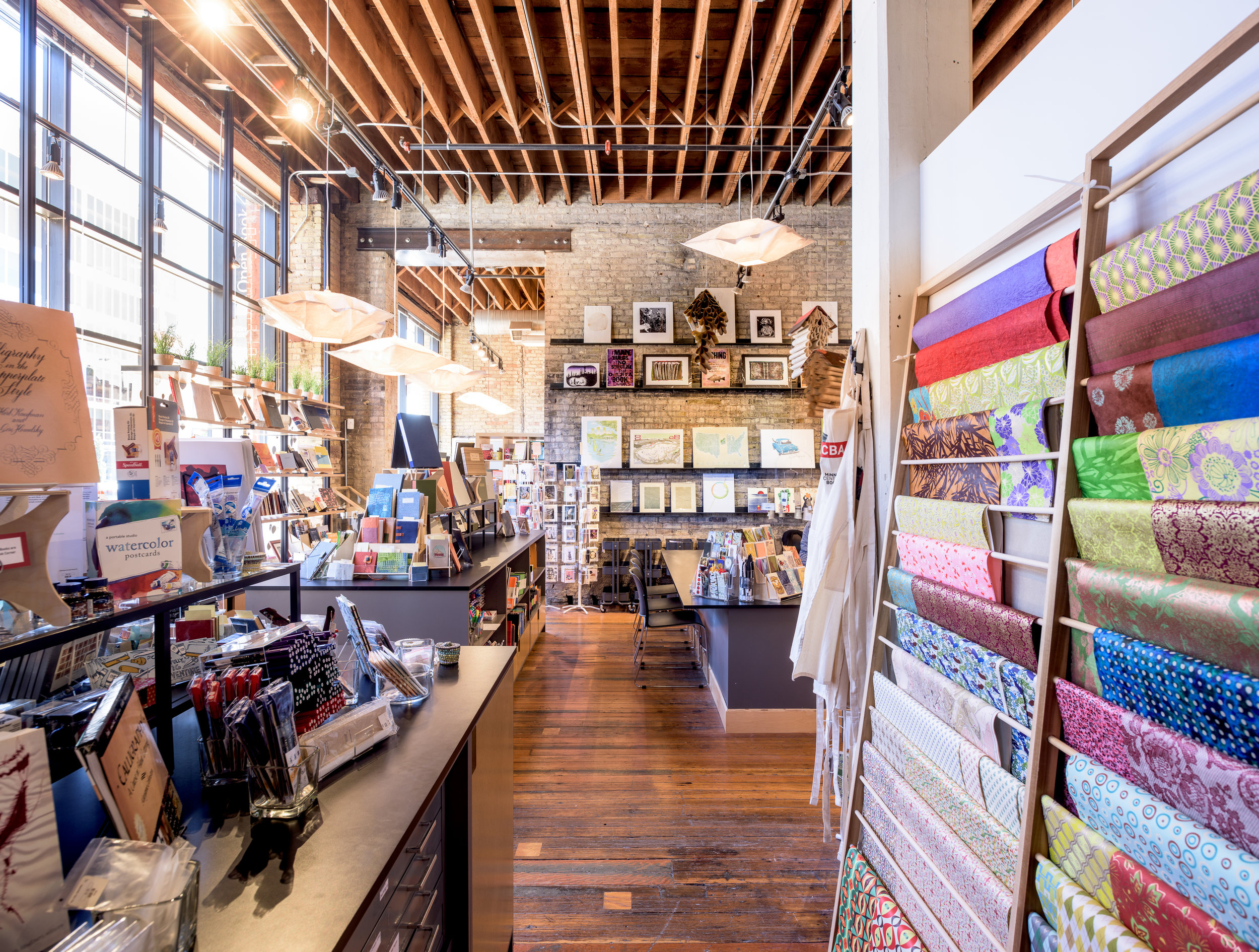 Modern gift shop remodel in historic downtown Minneapolis building by Christian Dean Architecture.