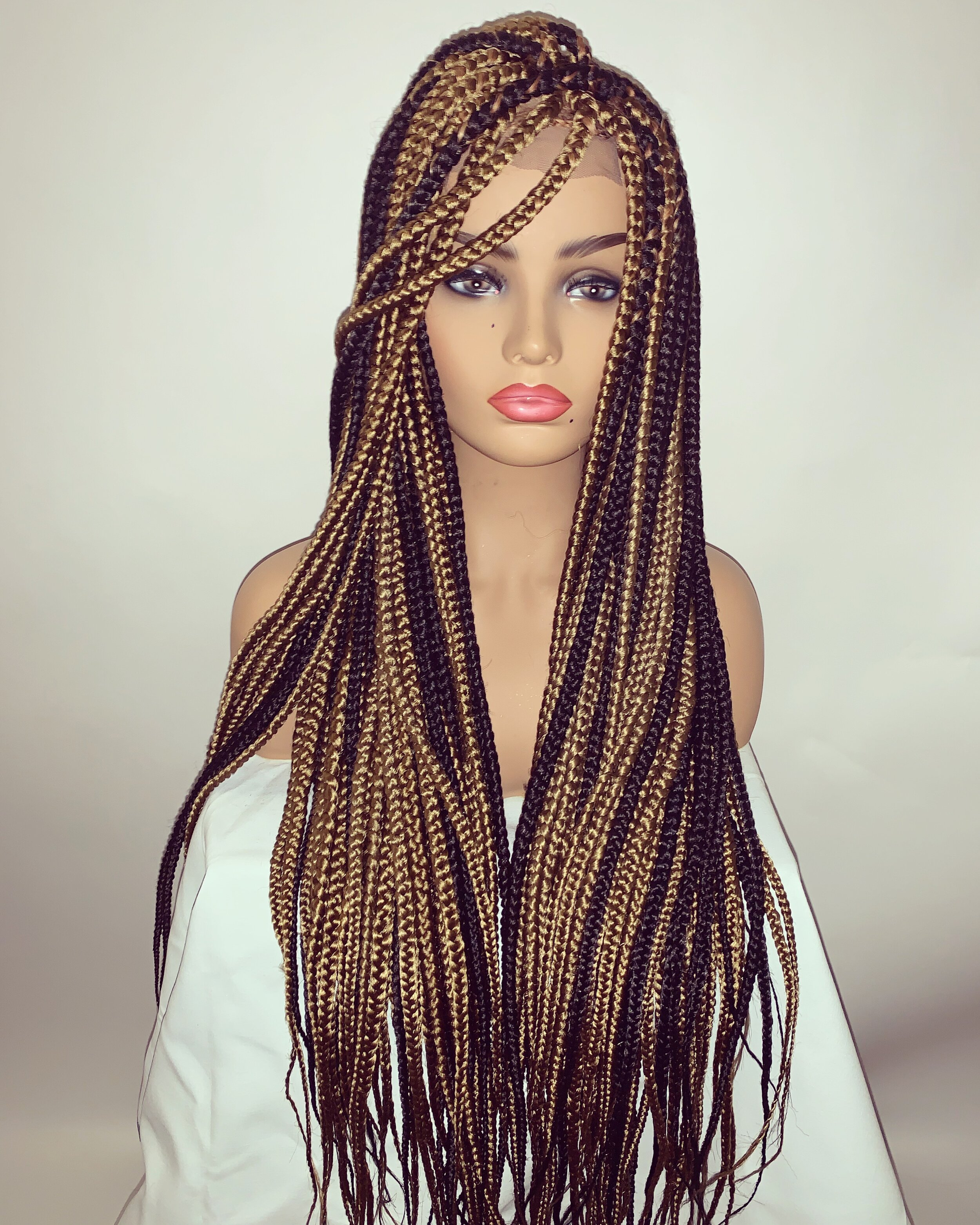 Medium Darling Daezey Box Braids Wig 1b 27 Off Black Honey Blonde Mix Darcel S Tresses Wigs Beauty