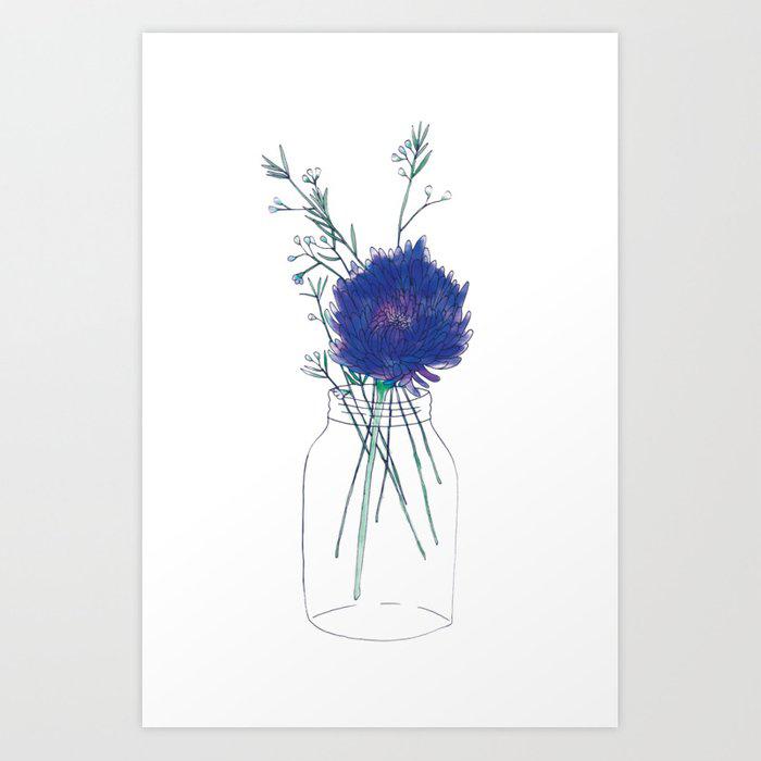 Flowers in Mason Jar Print