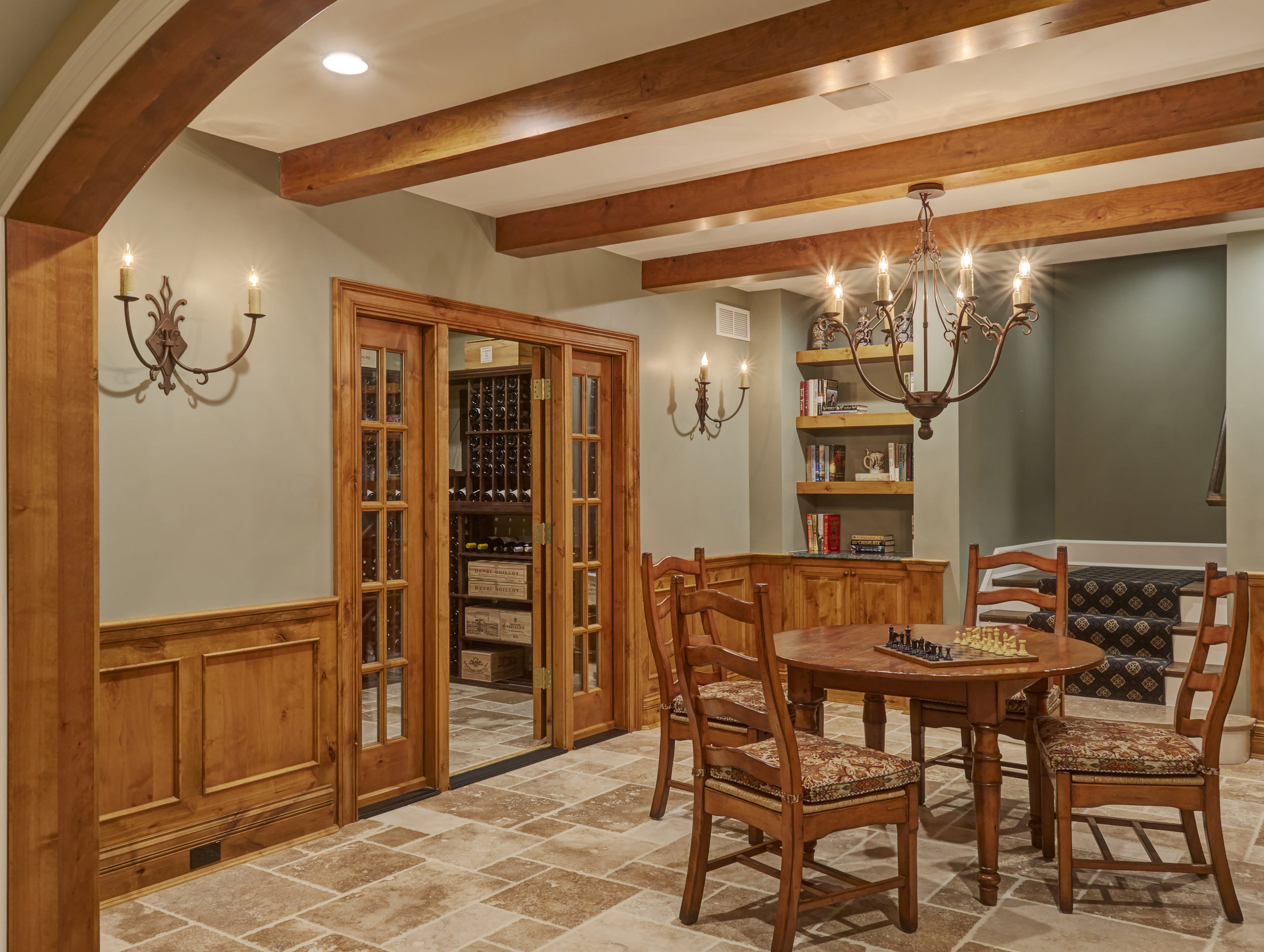 Wood Accent Den with Wine Cellar