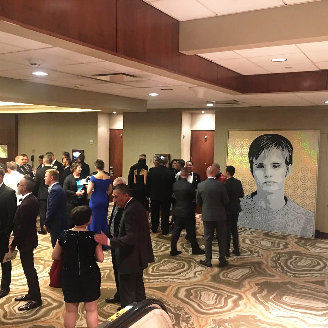 Matthew Shepard Was A Target  — portrait by Damon Arhos, as exhibited at the 2018 Matthew Shepard Foundation gala.