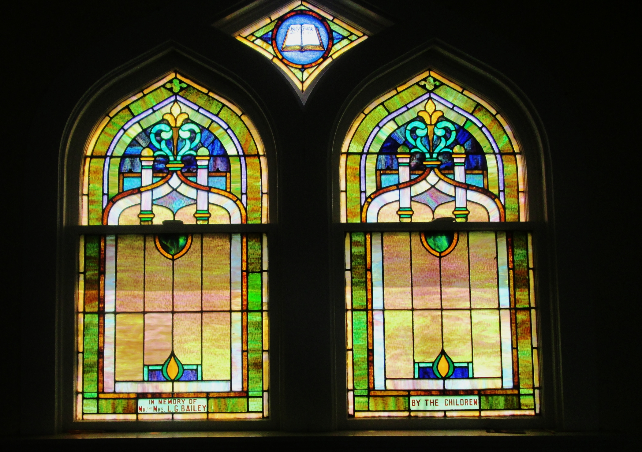 Original Stained Glass Windows from the Sanctuary which will be saved and reused in the new building.