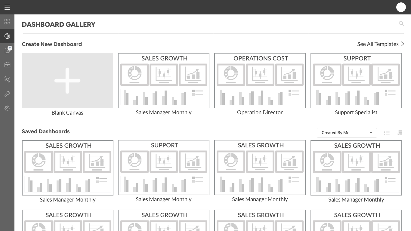Dashboard Gallery with thumbnails of dashboards.