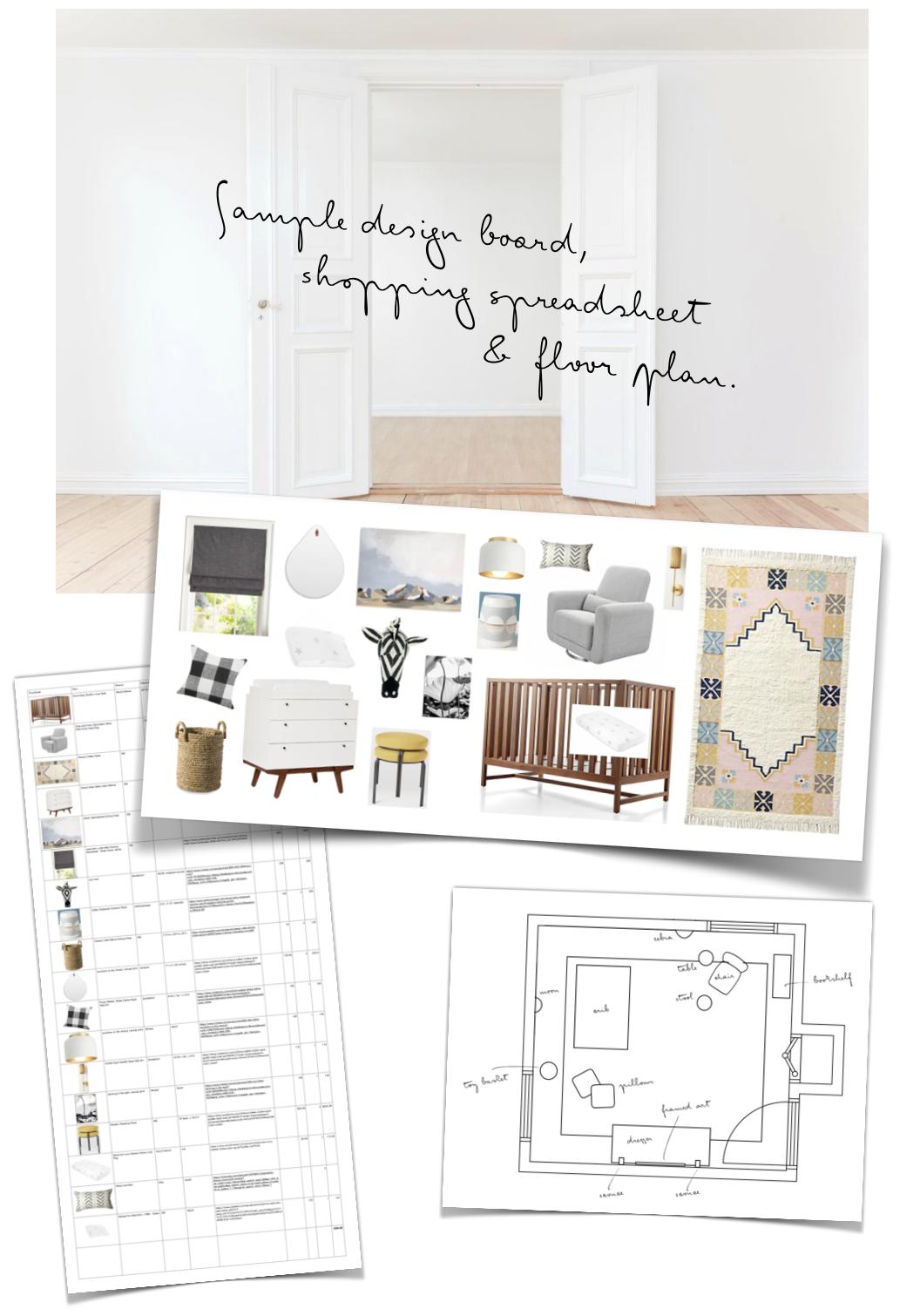 "Sample of an ""A Nursery Made Simple"" Customized Design Board"
