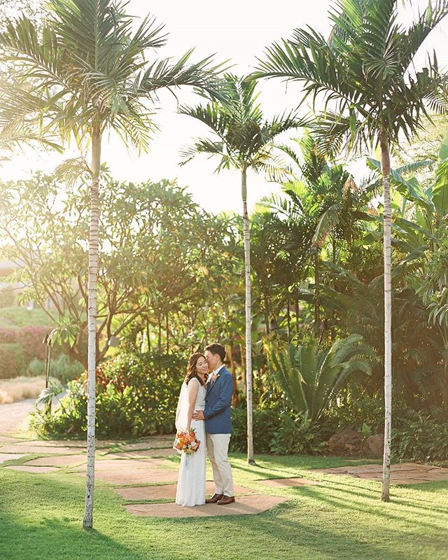 Pretty cheek kisses in pretty gardens on pretty islands 😍 this lovely sunset photo was captured after a gorgeous intimate cliff view wedding on Lanai. We love the just married butterflies we got with this couple!