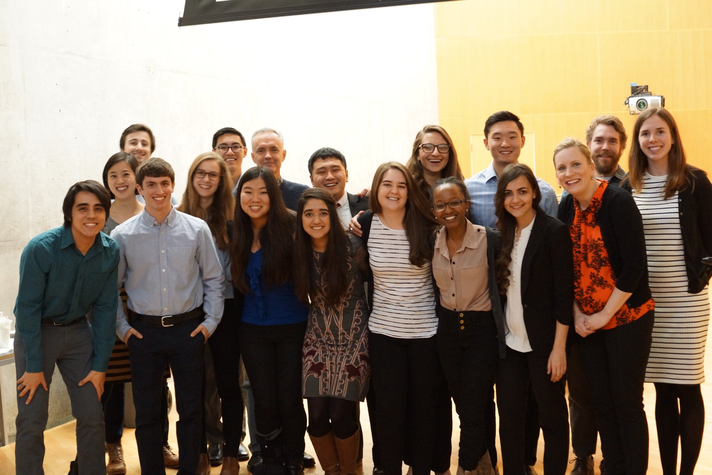 Dr. Koehler and phd Candidate Shelby Doyle (far right) with the students of 20.380, pRofessor Jim Collins, and teaching staff from the MIT Communication Lab at the fall 2016 final pitch competition.
