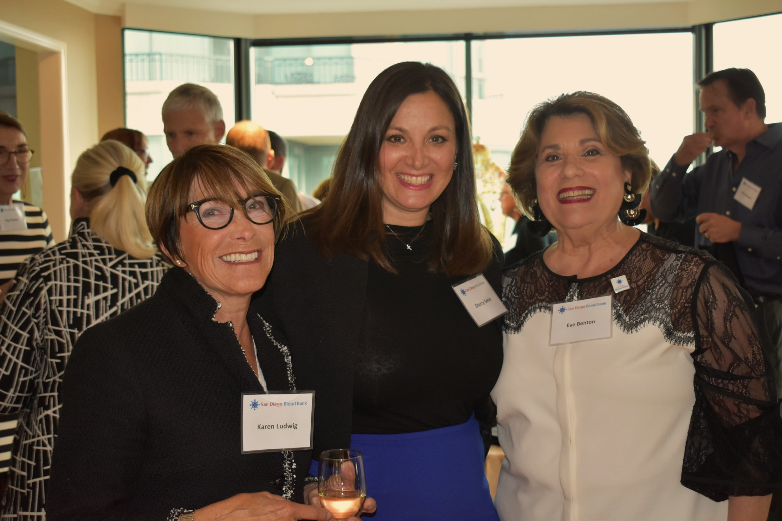 Karen Ludwig, Sherry Serio, and Eve Benton, board member and host