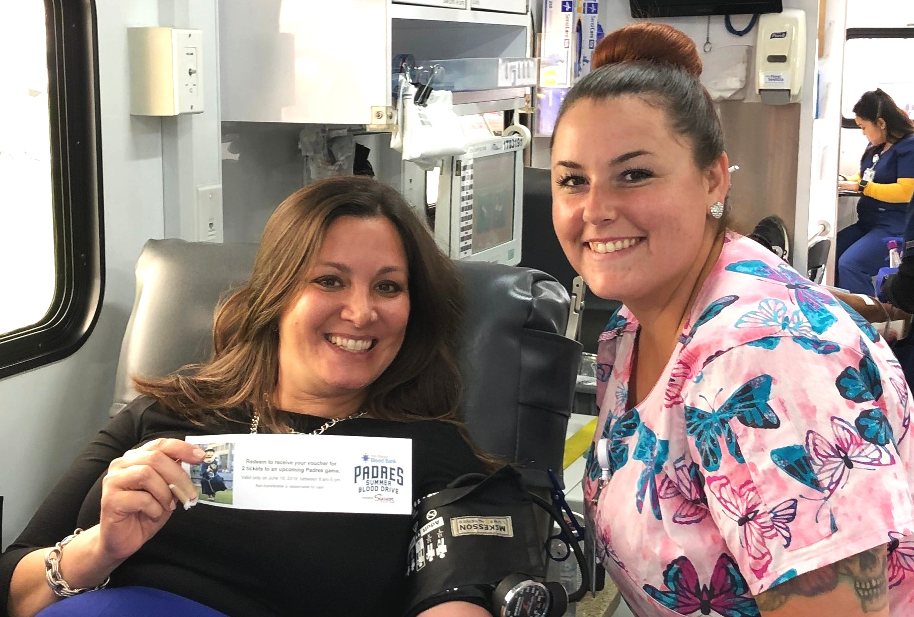 San Diego Blood Bank's Vice President of Development Sherry Serio smiles with her phlebotomist, Kimmy! Thank you, Sherry, for saving lives!