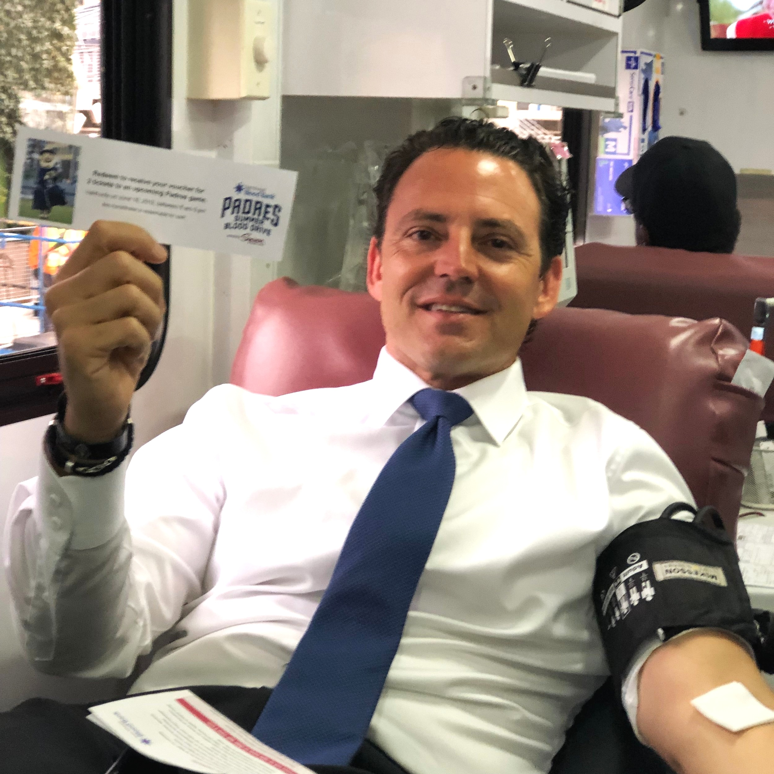 County Supervisor Nathan Fletcher stopped by, donated blood and received his voucher for a Padres game!