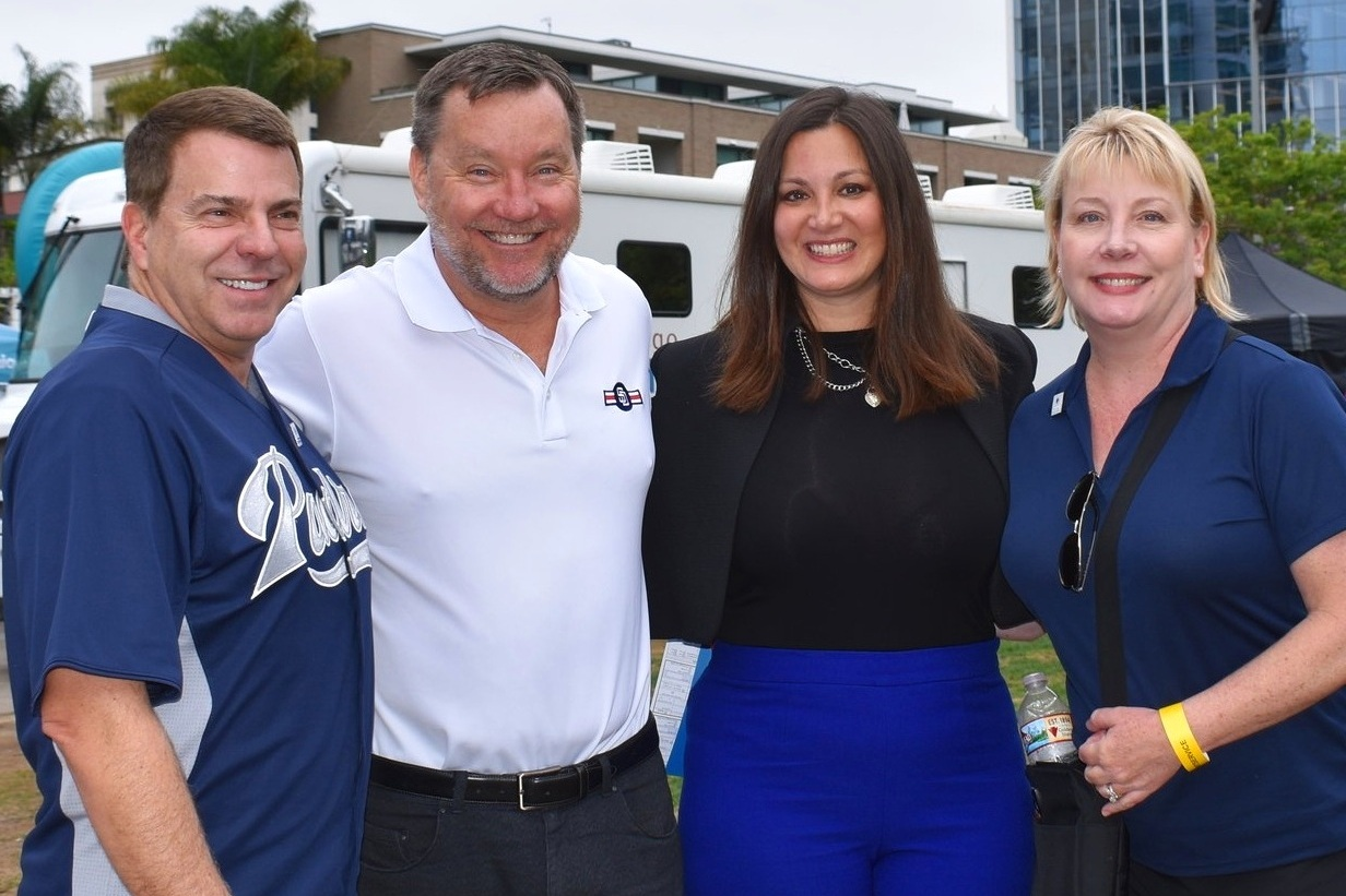 David Wellis, CEO, SDBB; San Diego Padres' SVP, Community & Military Affairs Tom Seidler; SDBB's Sherry Serio, Vice President of Development; and SDBB Public Relations Manager Claudine Van Gonka