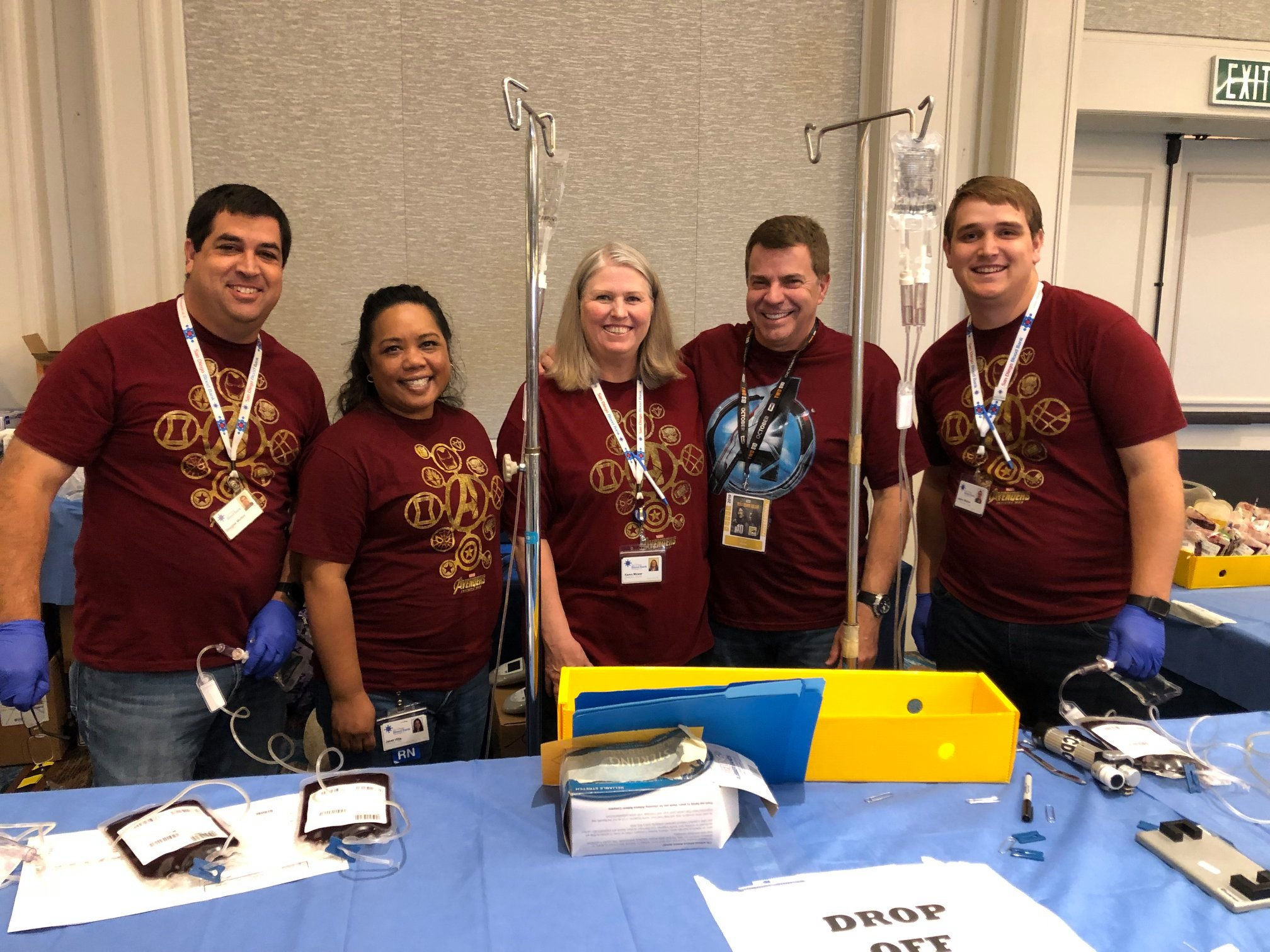 Doug Morton, COO; Janet Villa, Director of Research and NCW; Karen Mower, Director NCW; David Wellis, CEO and Jason Morton, IT Administrator volunteered time away from SDBB's Headquarters to help process 3,343 blood components at the 43rd Robert A. Heinlein Blood Drive at Comic Con during #SDCC19.