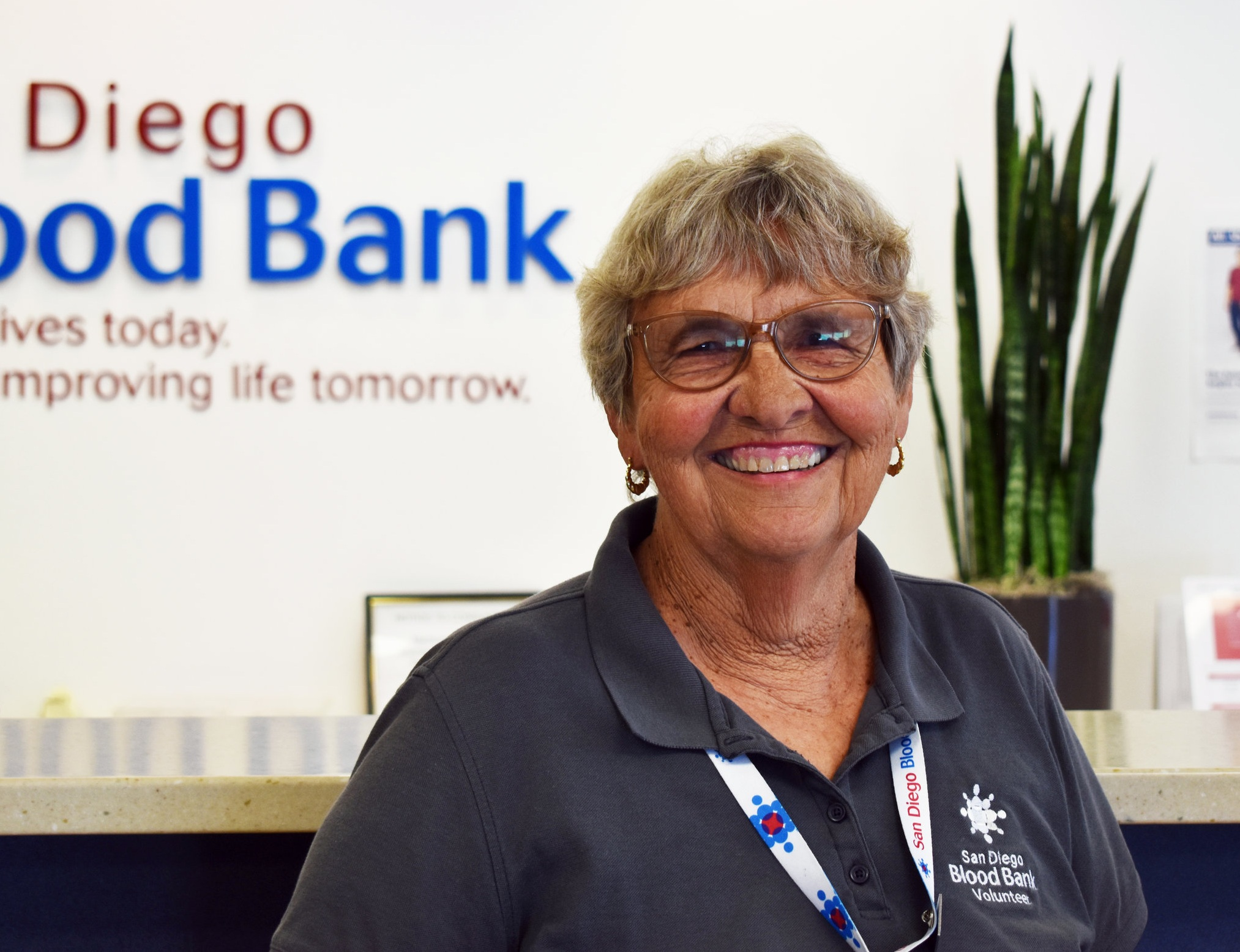 Mae Goldman is all smiles at SDBB's East County Donor Center, where she volunteers every Tuesday.
