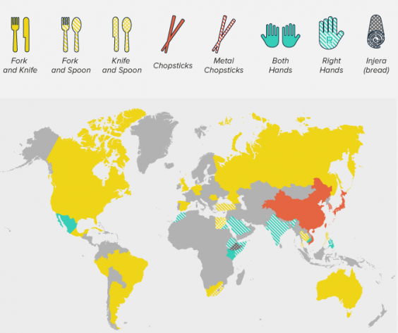 Countries the predominantly use chopsticks are appear in red. Credit:  Expedia (Canada) .