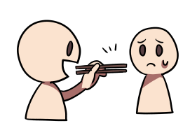 A visual representation of the negative emotions involved in pointing with chopsticks. Credit:  Gurunavi.com .