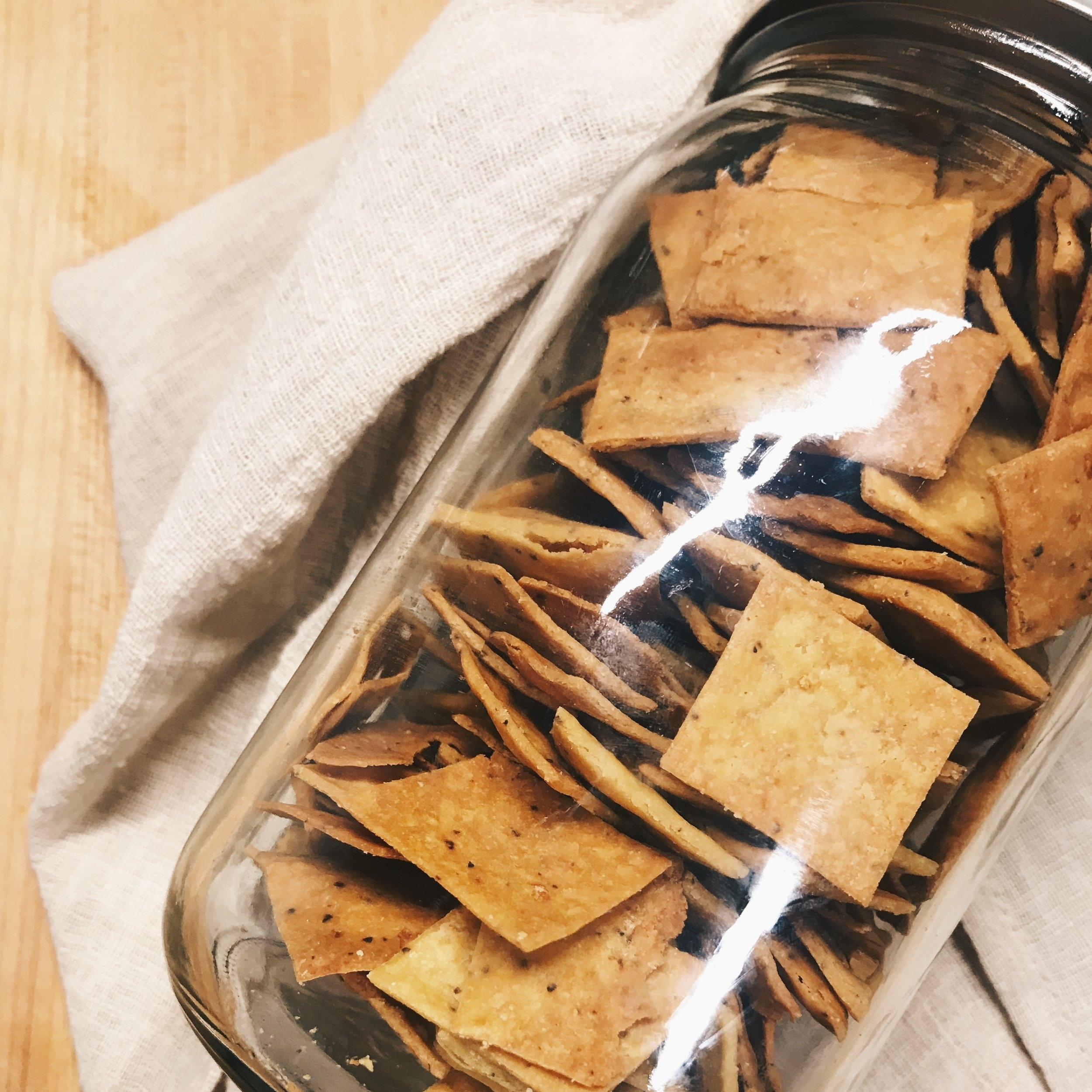 """Chickpea Crackers   Free of: Gluten, Soy, Dairy, Eggs, Corn and nuts!! YEA! SO easy and definitely a snack thats ALWAYS in my kitchen ready to munch on! NOTE: I double the nutritional yeast amount to make them more like a """"Cheez-It."""" Still mild, but oh so tasty!   RECIPE    HERE   !"""
