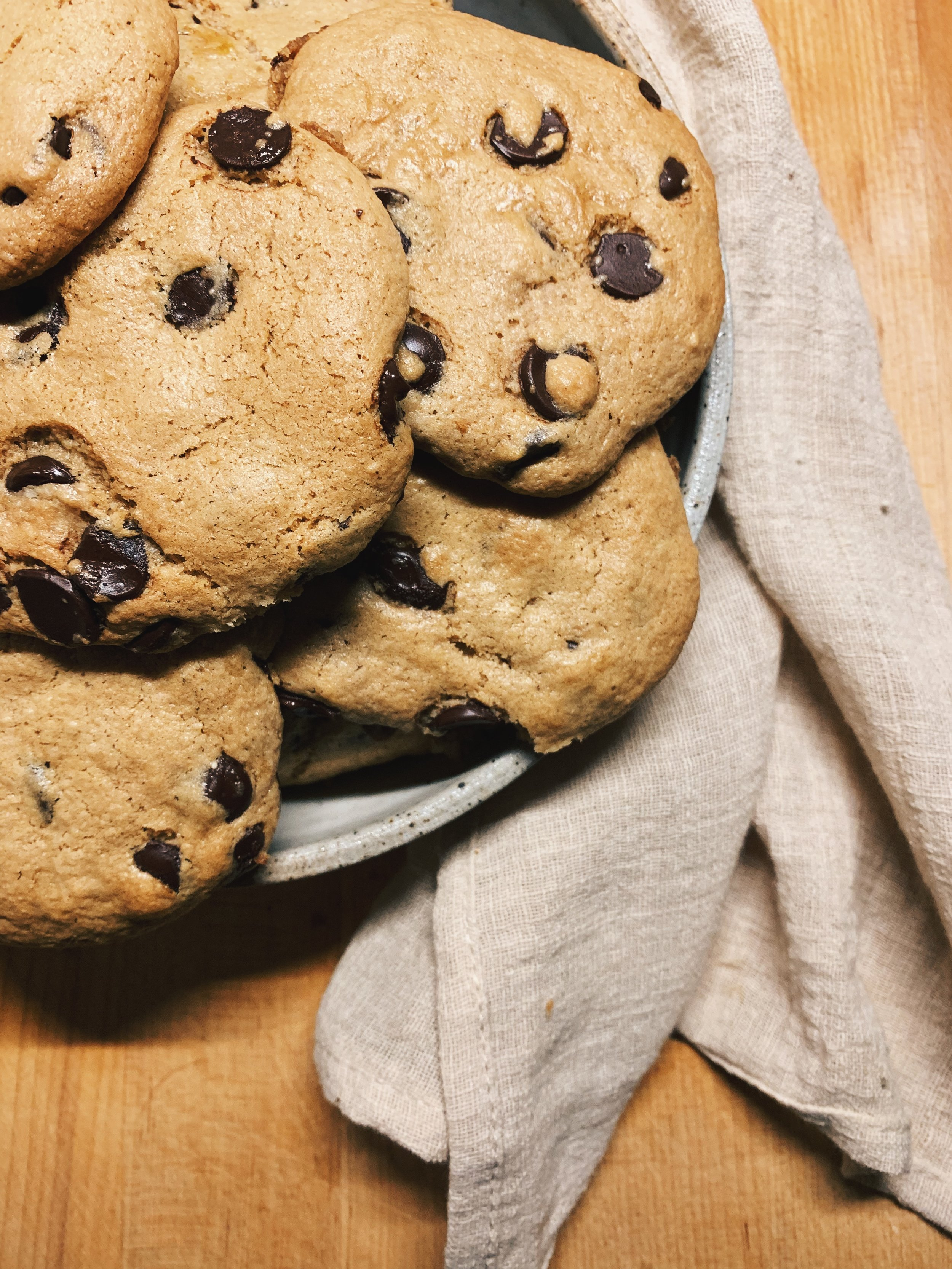 Chocolate Chip Tahini Cookies   HOLY SHIT! Stop everything you are doing now and MAKE THESE!  The recipe developer calls them life changing…and it ain't an exaggeration.  Fun fact: I won a Thanksgiving Cook off with these bad boys!  I add: Vanilla & Cinnamon to mine, cause DUH!   RECIPE HERE!